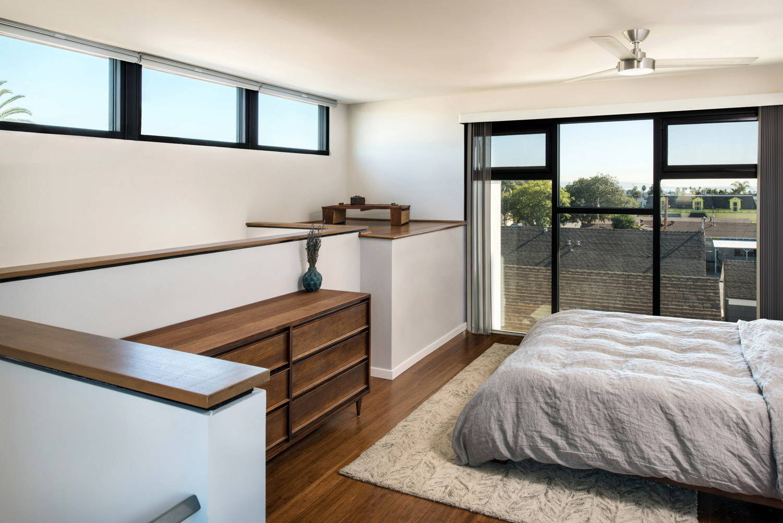 Apartment bedroom, simple interior design, modern architecture san diego