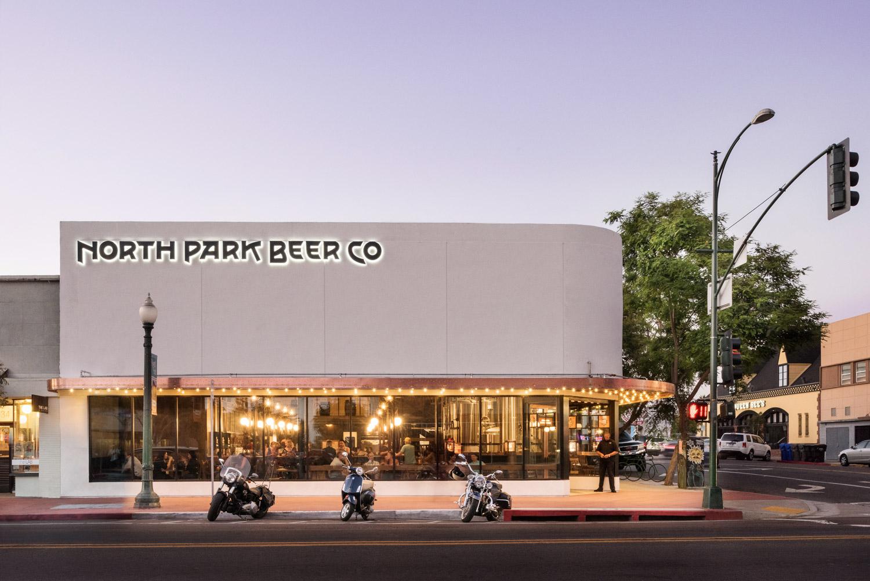 North Park Beer Company exterior, urban restaurant photographer, san diego architecture photographer