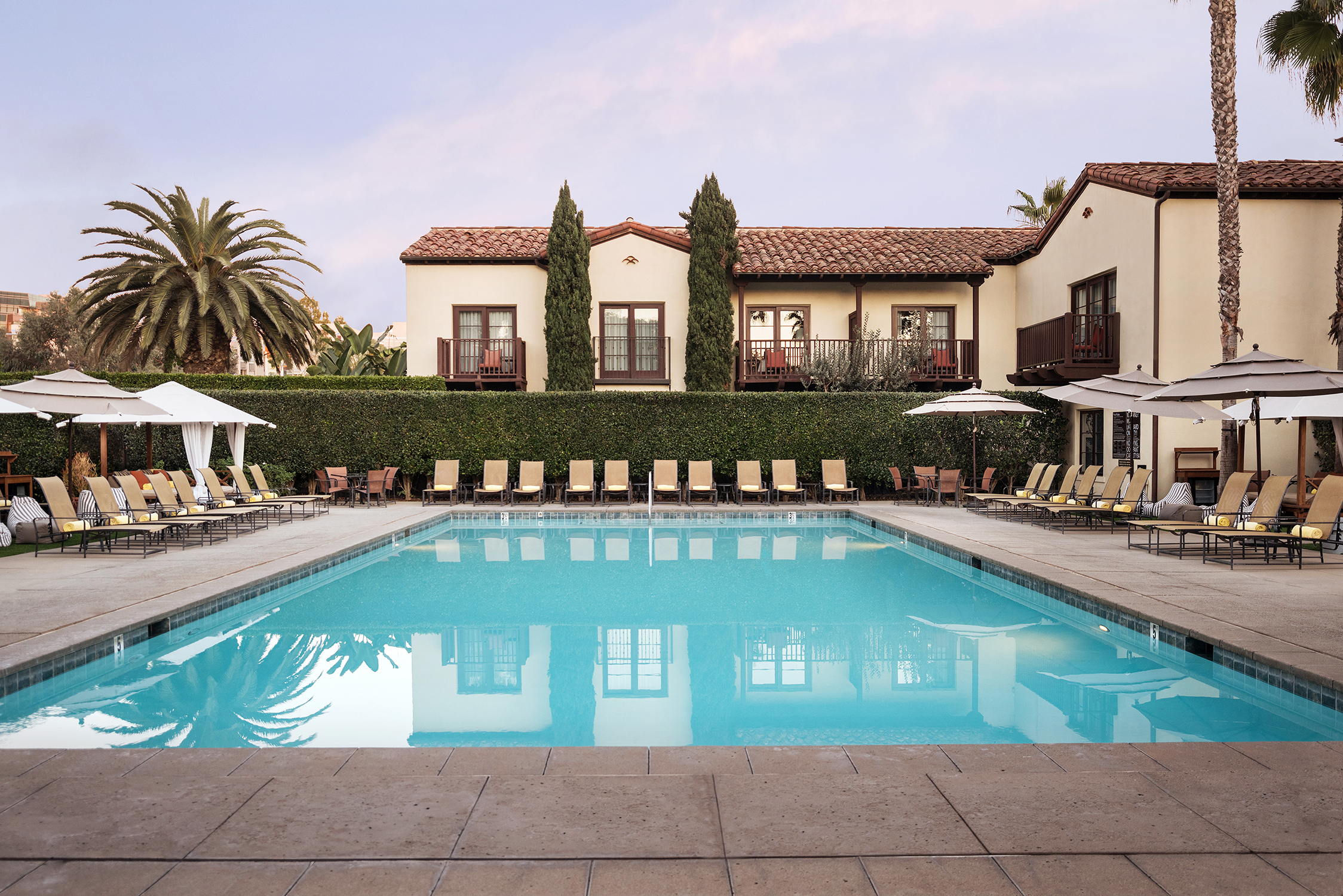Pool at Estancia Hotel and Spa in La Jolla, California, San Diego hotel photography, exterior photography