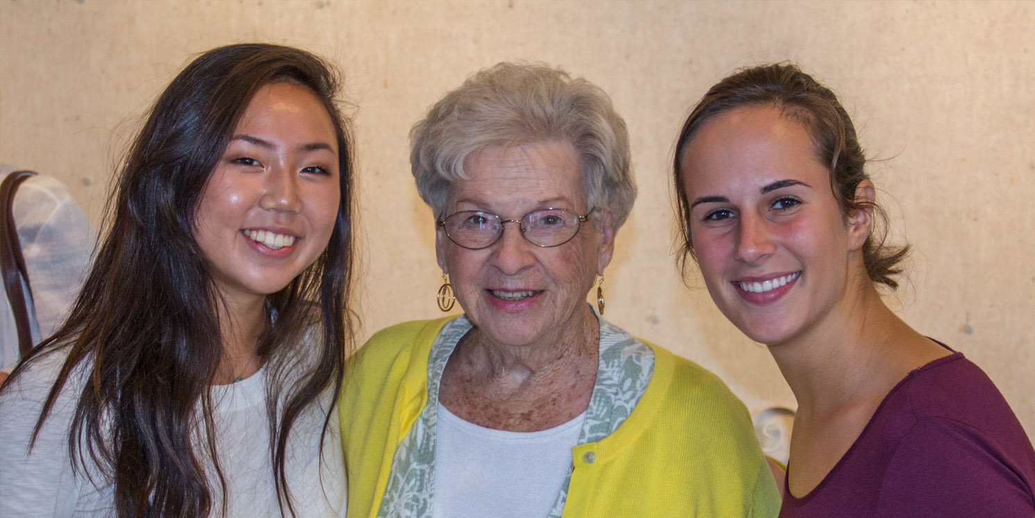 Sami Masaki (left) and Maddie Nichols (right) with Martha Weber after viewing the finished video