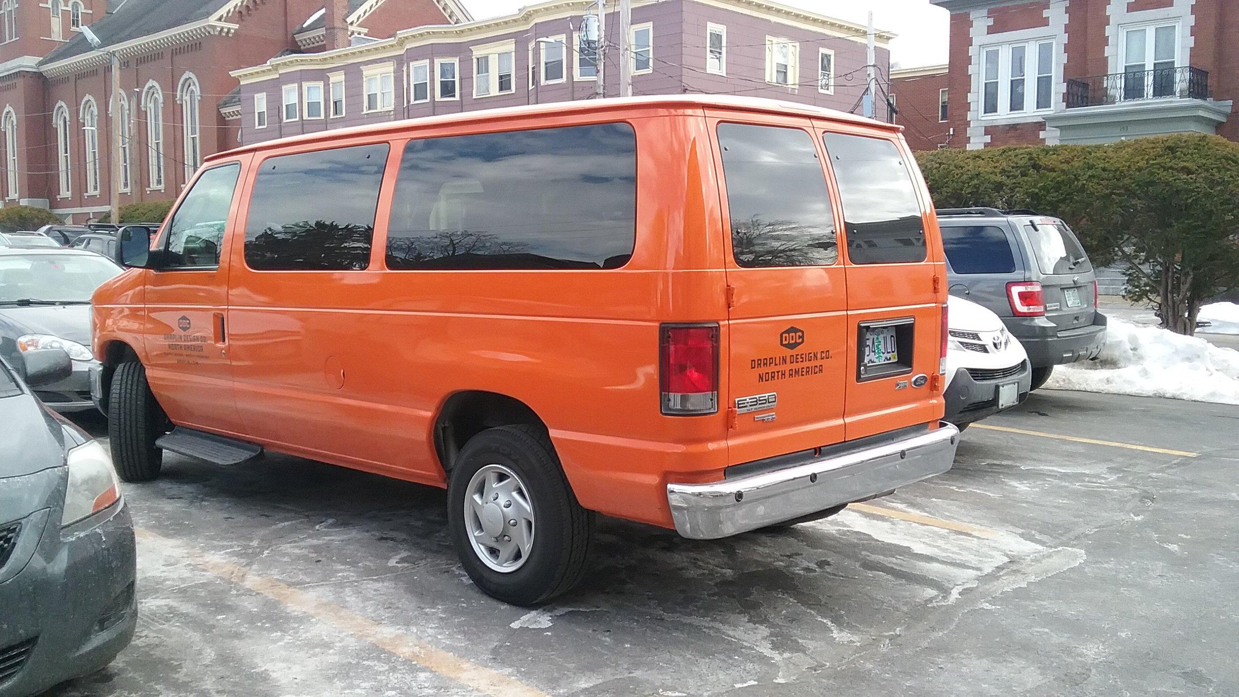Draplin and his pantone orange touring van. Nice!