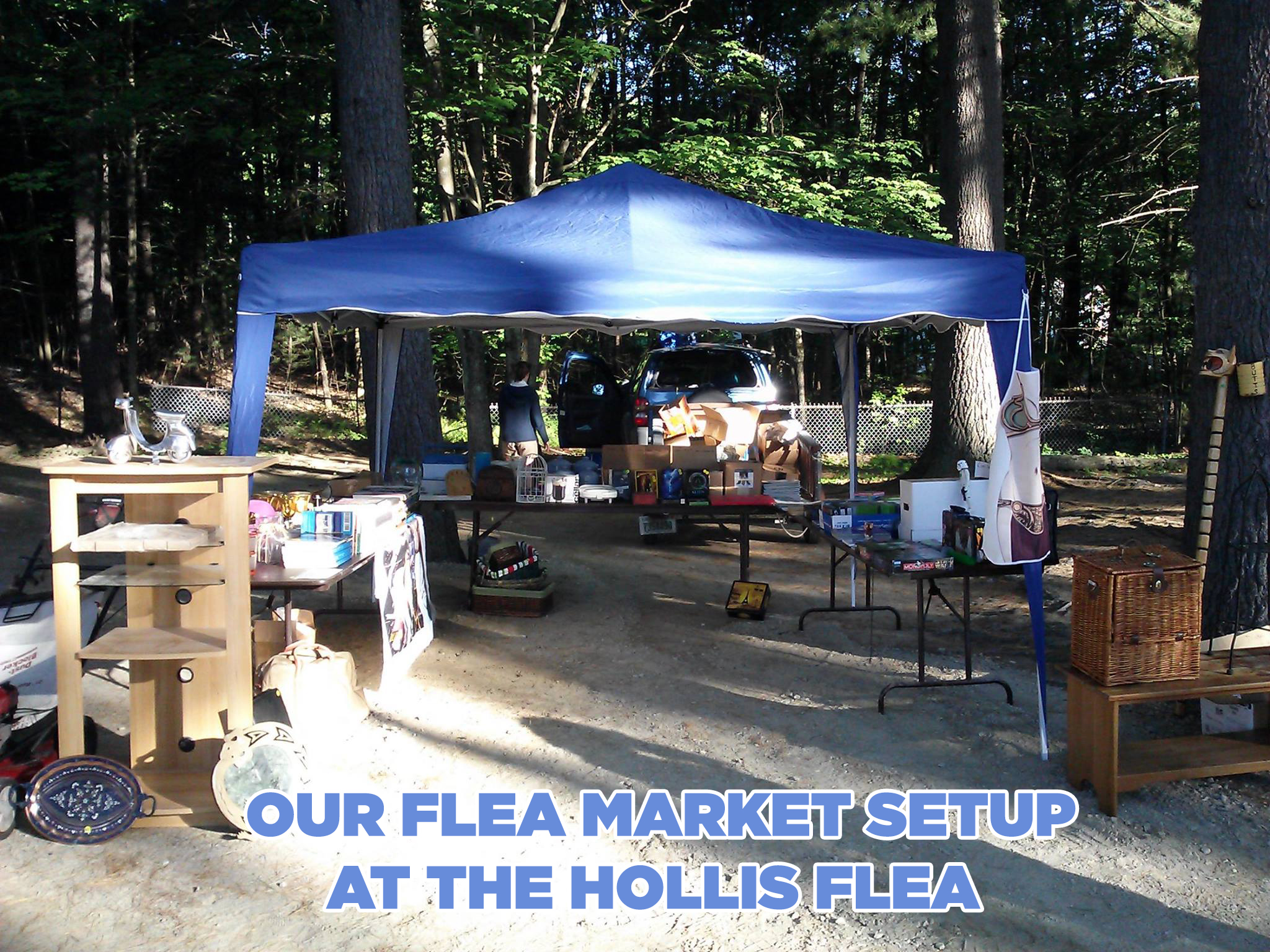 """Our set-up at the Hollis Flea Market a few years ago. """"Where once I was the student, now I am the master"""" Putting my buyers experience to use as a seller."""
