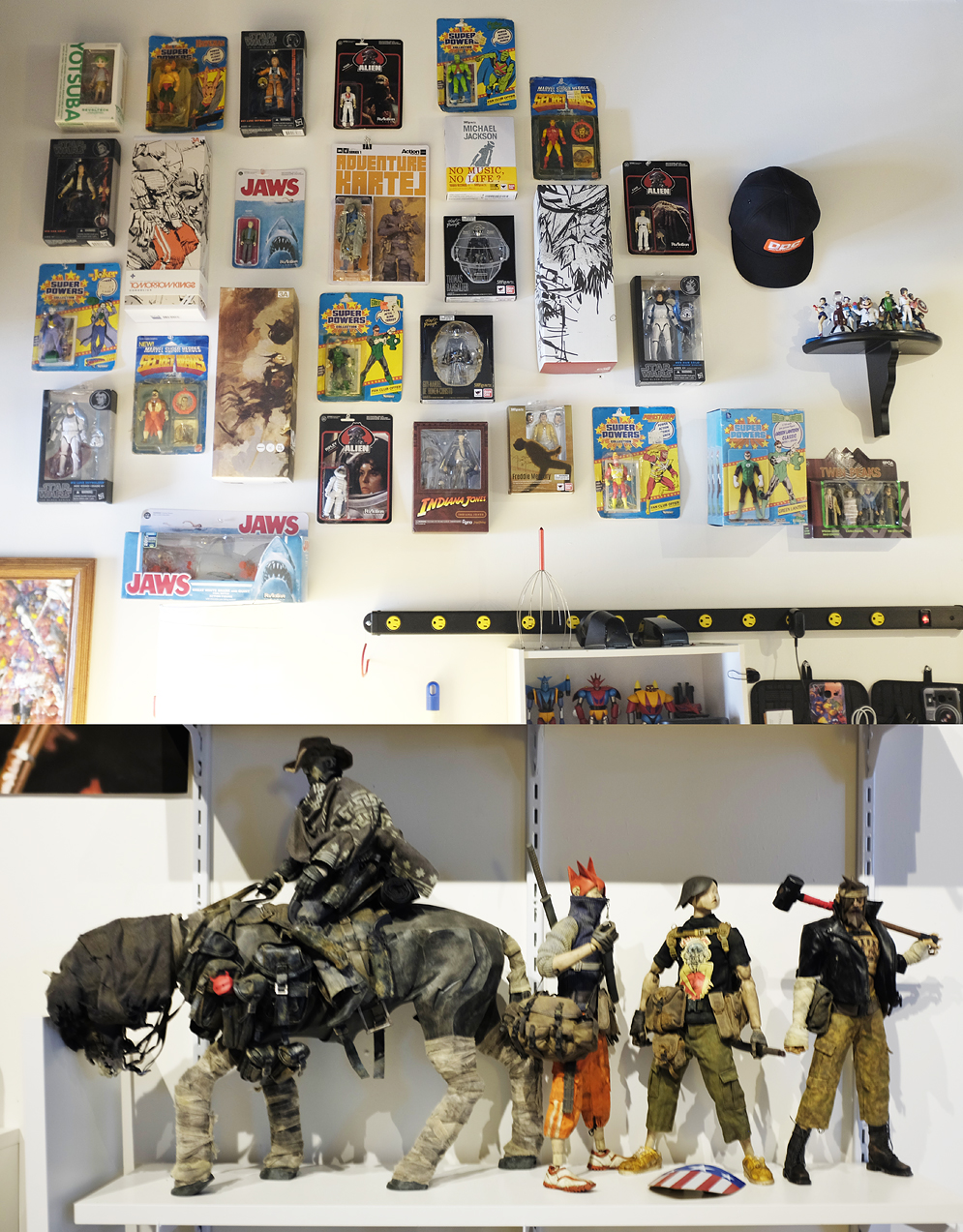 toys hanging on studio wall and displayed on shelf