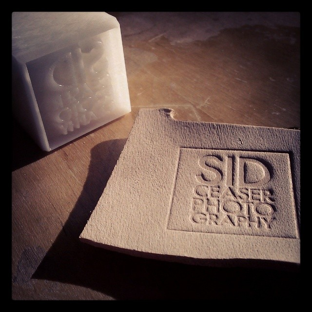 Leather stamp make from Delrin plastic and a scrap of leather with the stamp pattern.