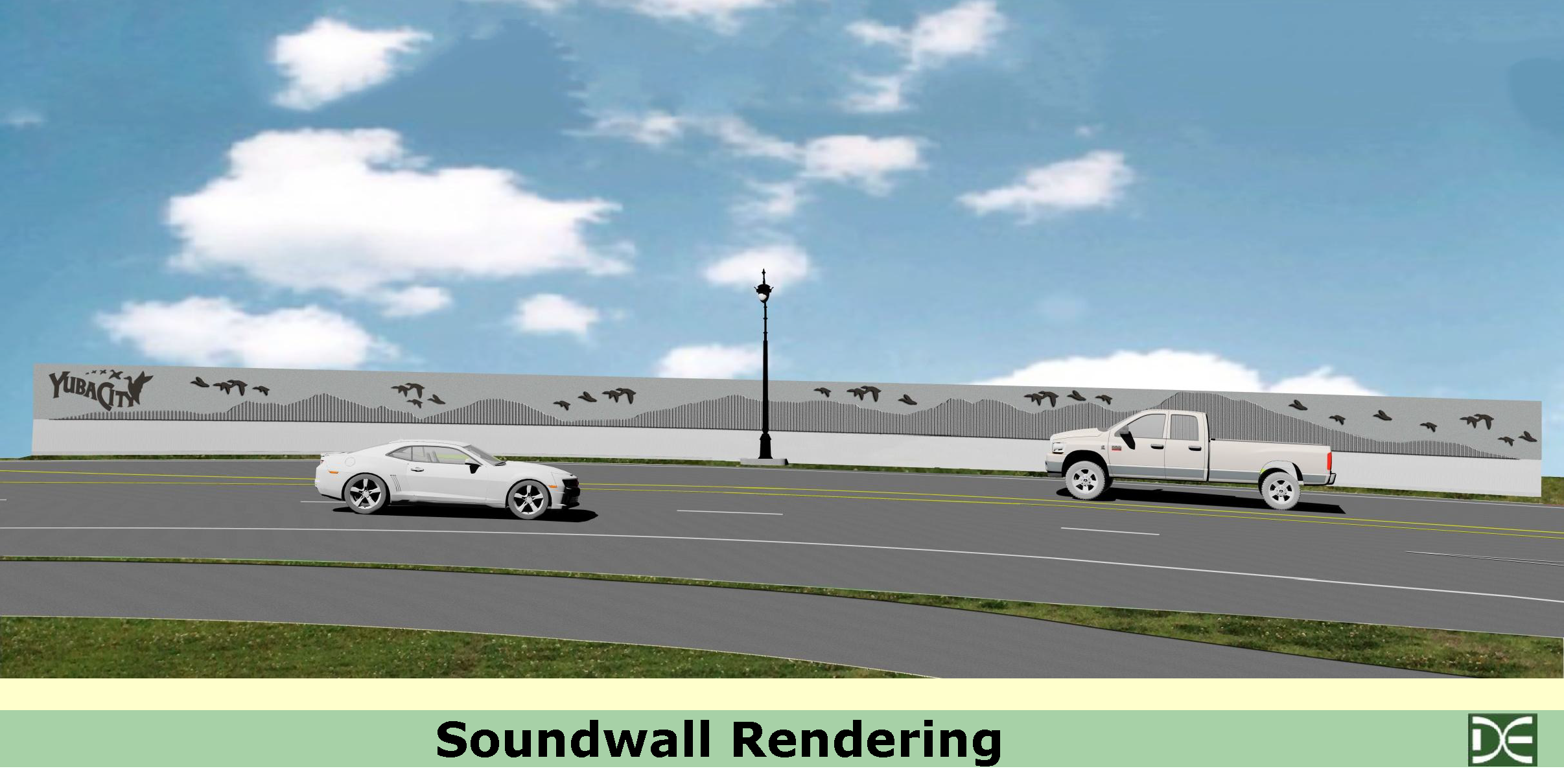 Artist rendering of the soundwall construction on the Yuba City (Bridget Street) side of the 5th Street Bridge.