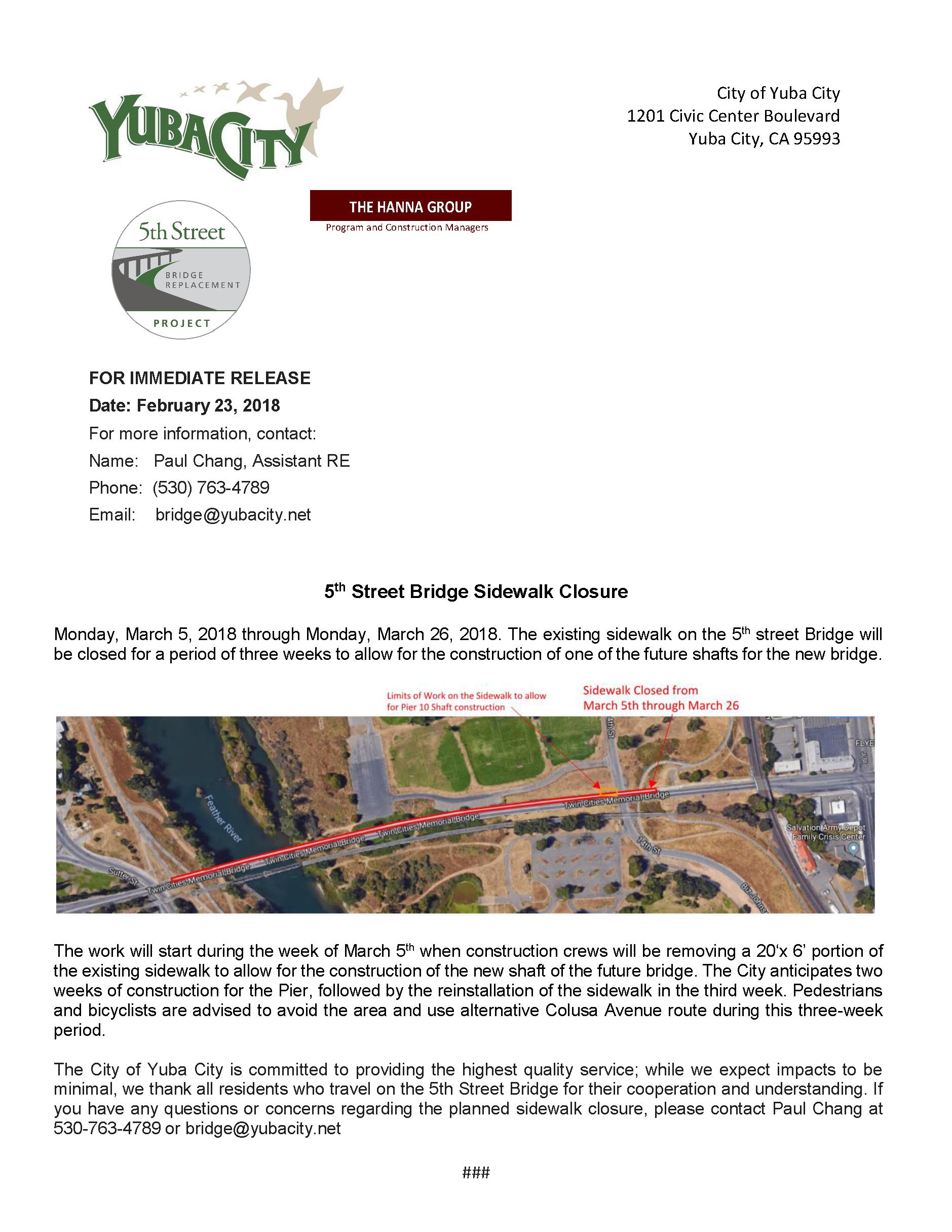 Press Release - 5th St Bridge Sidewalk Closure 2-23-18.png