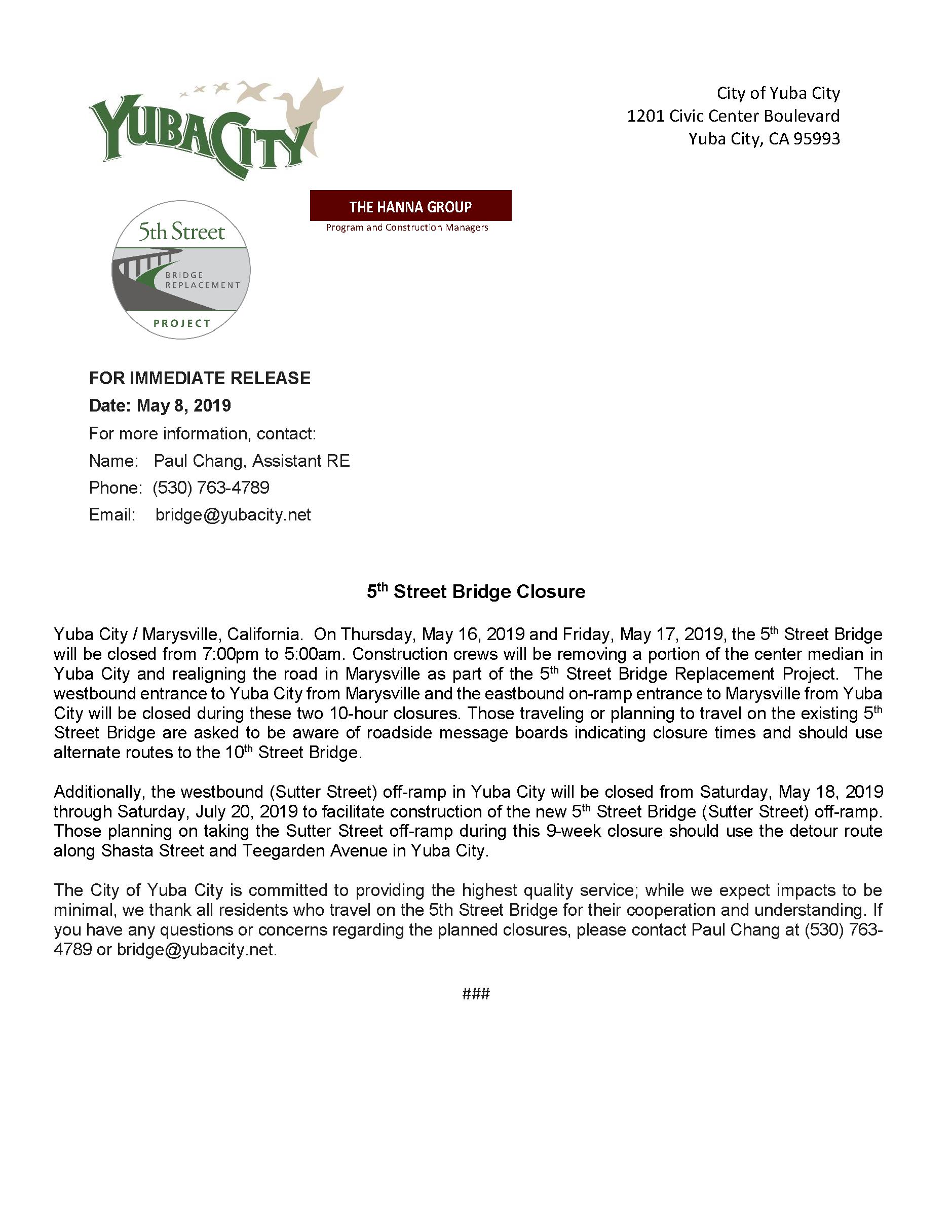 Press Release - 5th St Bridge Closure May 2019.png