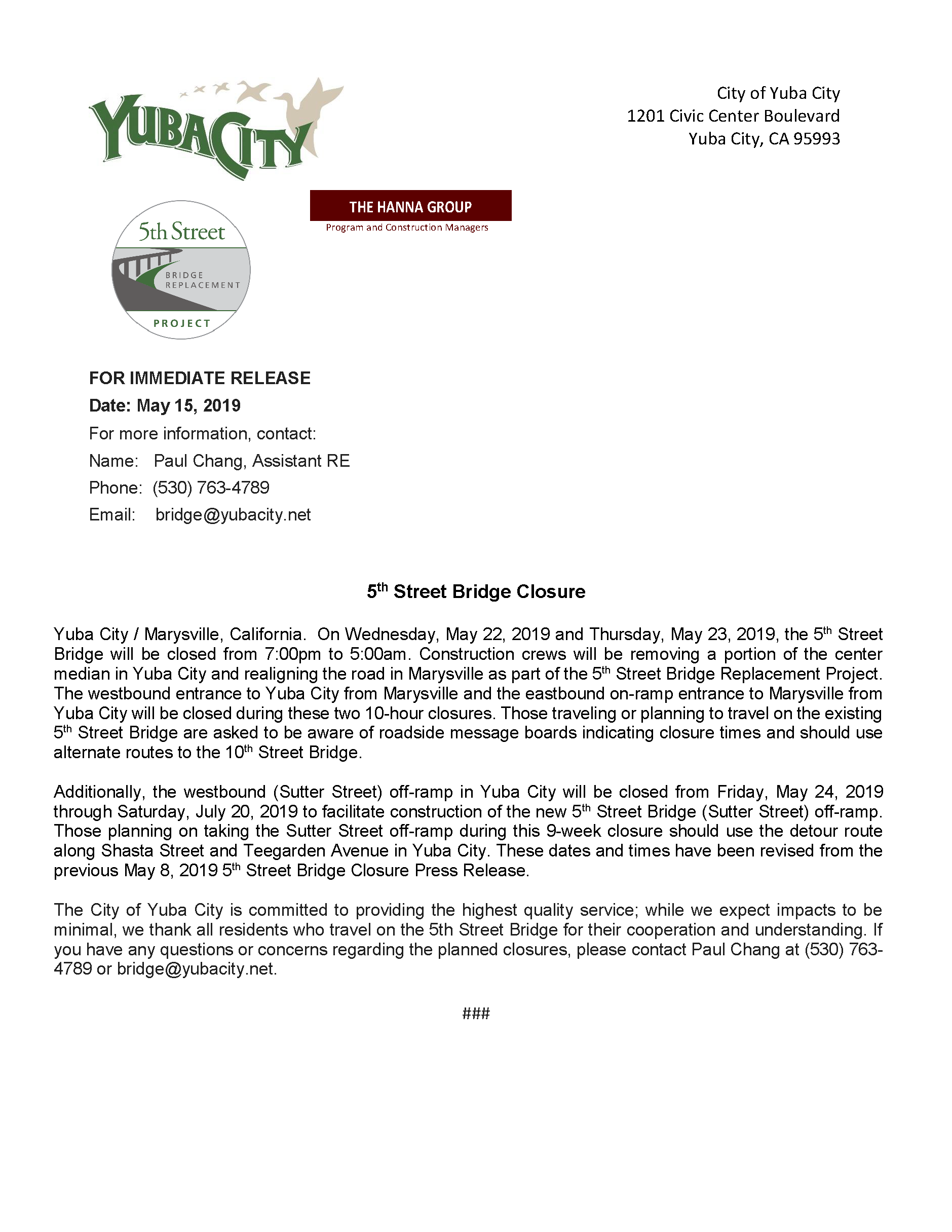 Press Release - 5th St Bridge Closure May 2019 Revised.png