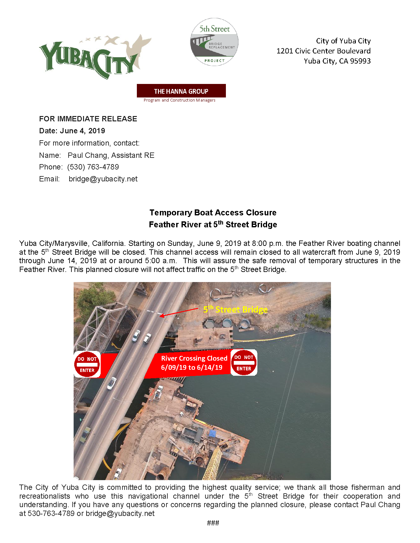 Press Release - June 9.19 Feather River Access Closure 5th Street Bridge.png