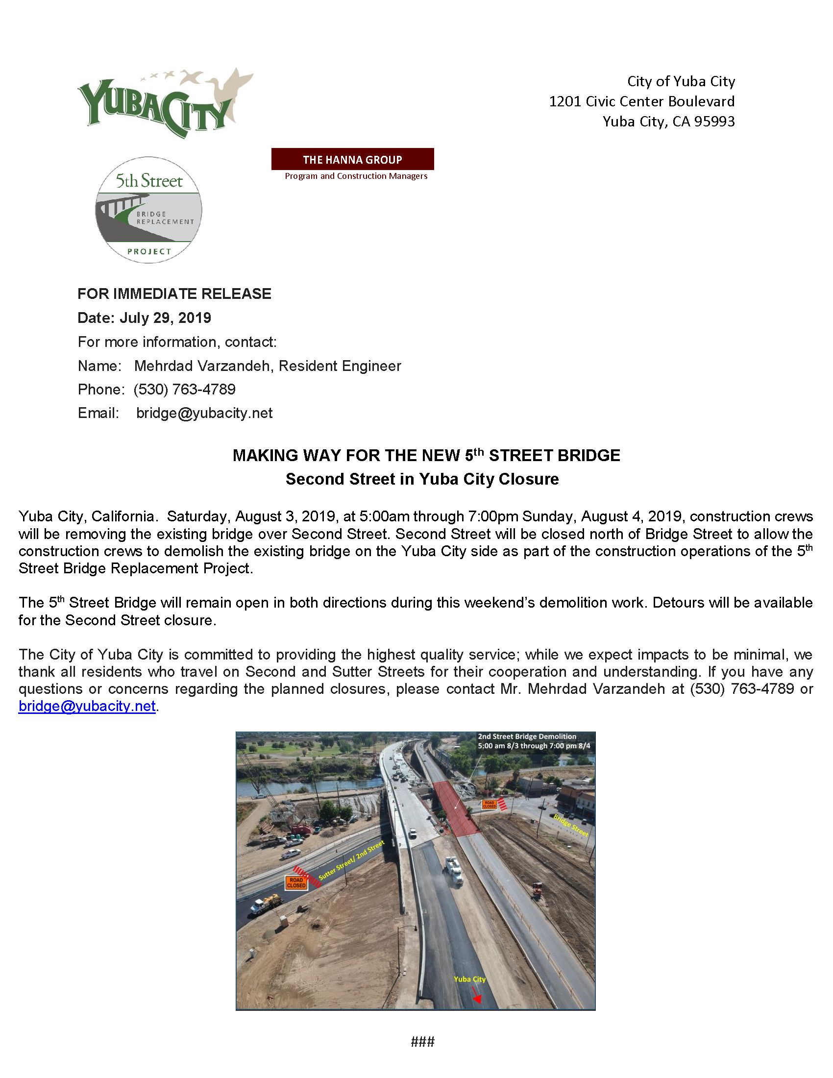 Press Release - Second St Closure - Bridge Removal August 2019.png