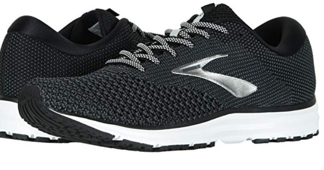 black and white brooks running shoes for men