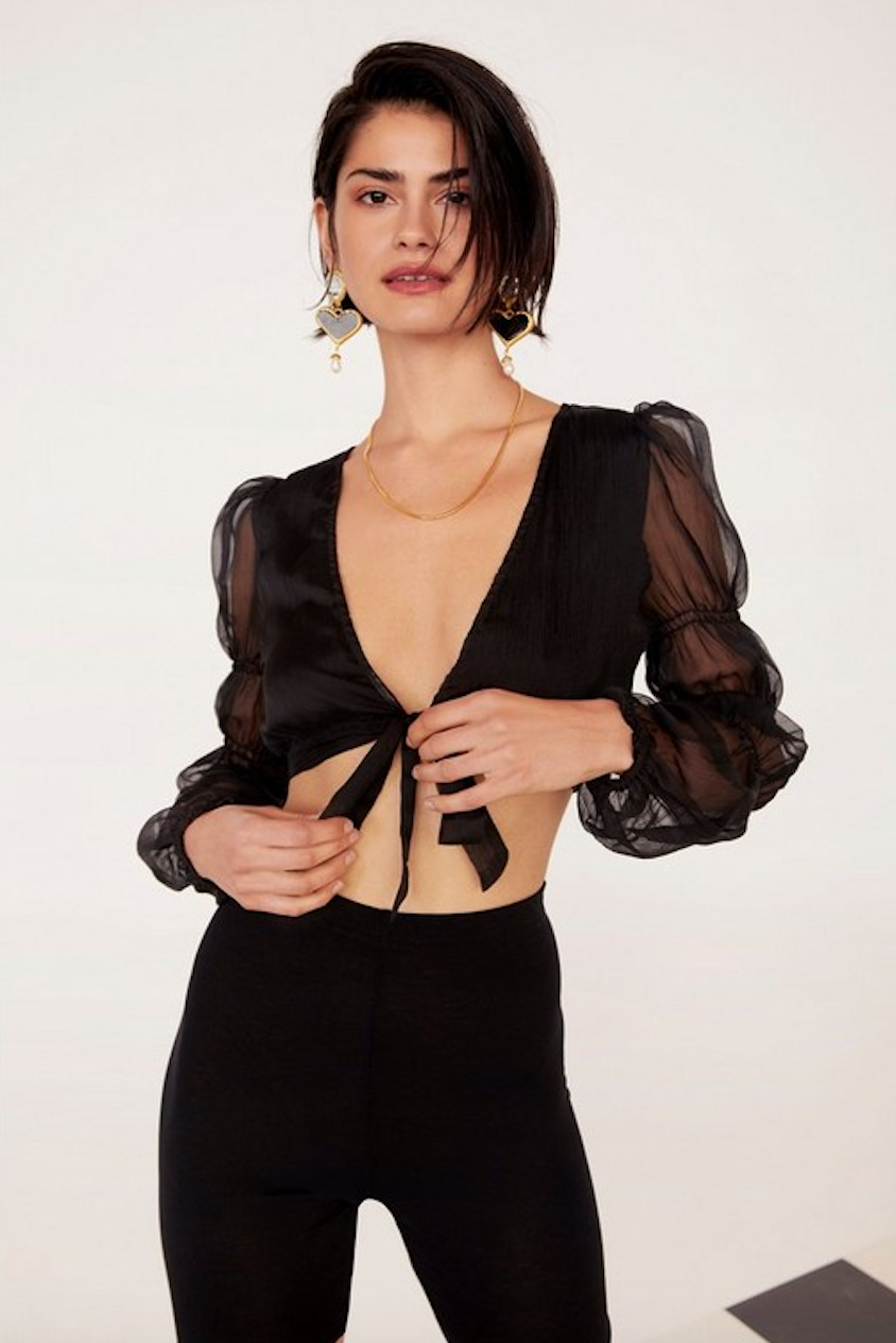 Gather Round Sheer Tie Top - Was $50 Now $25