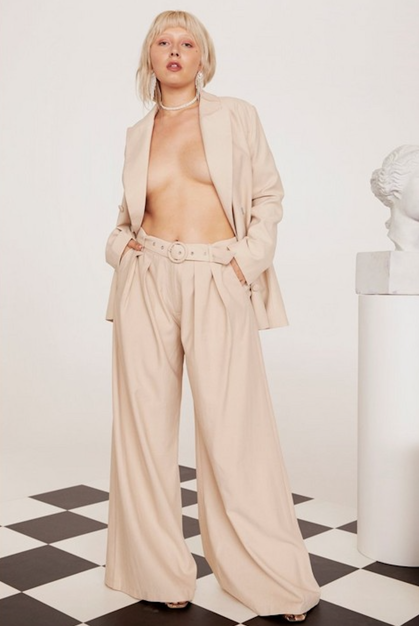 Business As Usual Wide-Leg Belted Plus Pants - Was $80Now $40