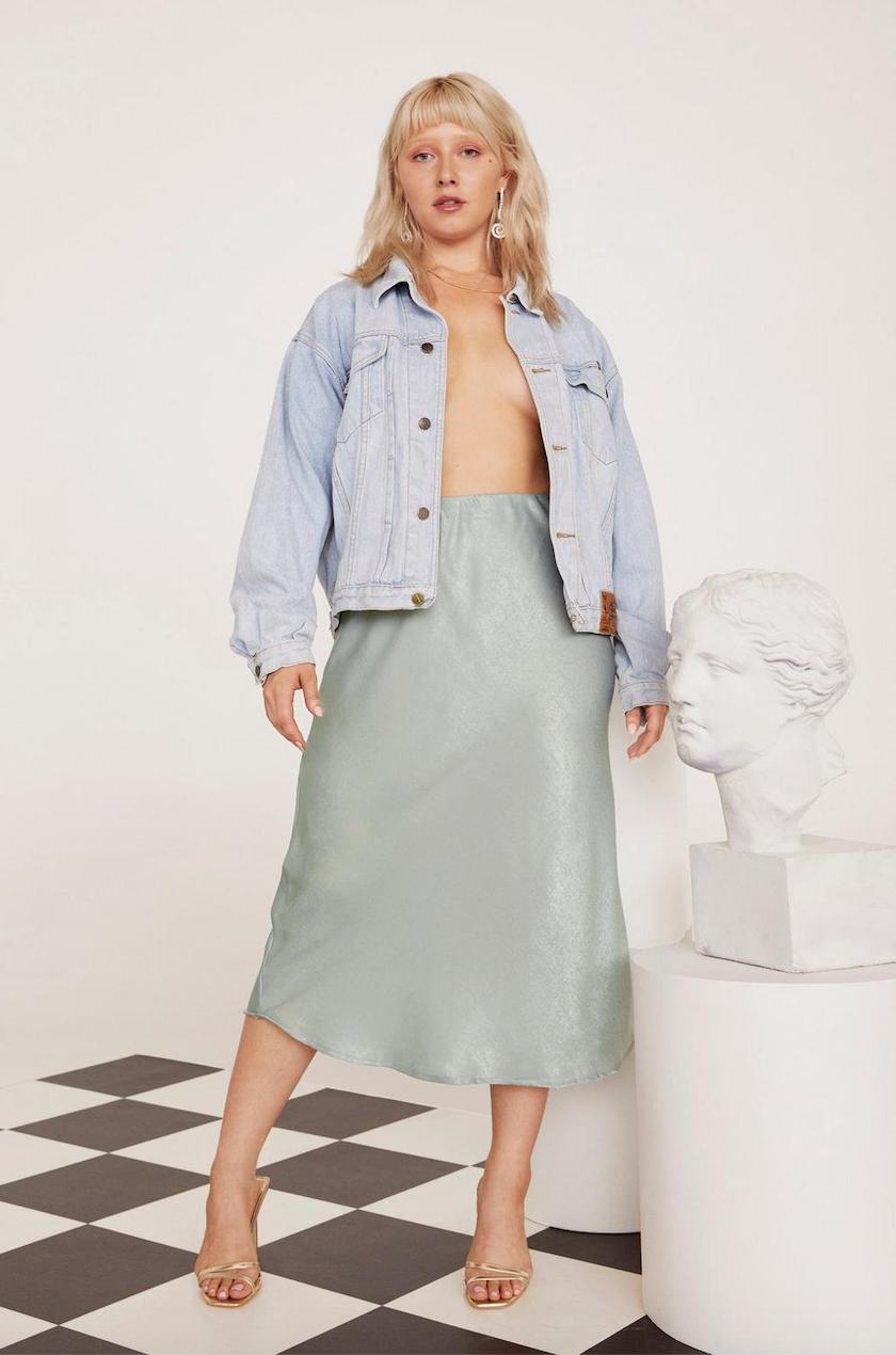 Get Your Sleek On Satin Bias Cut Plus Skirt - Was $60Now $30