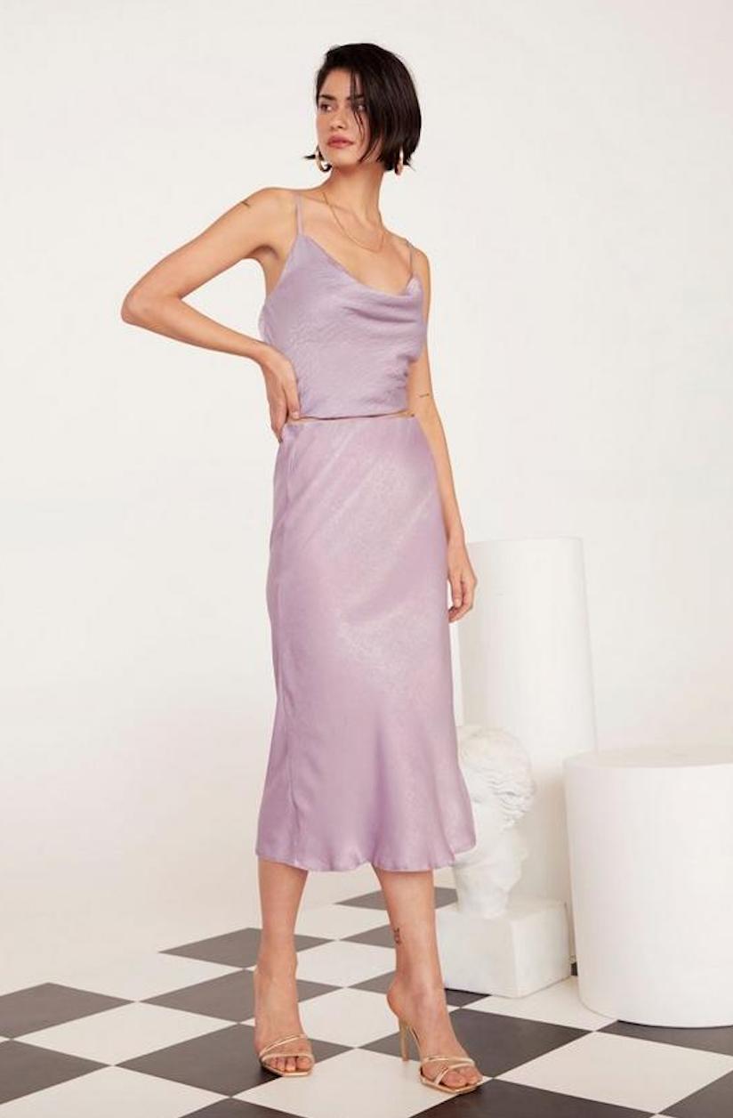 Get Your Sleek On Satin Bias Cut Skirt - Was $60Now $30