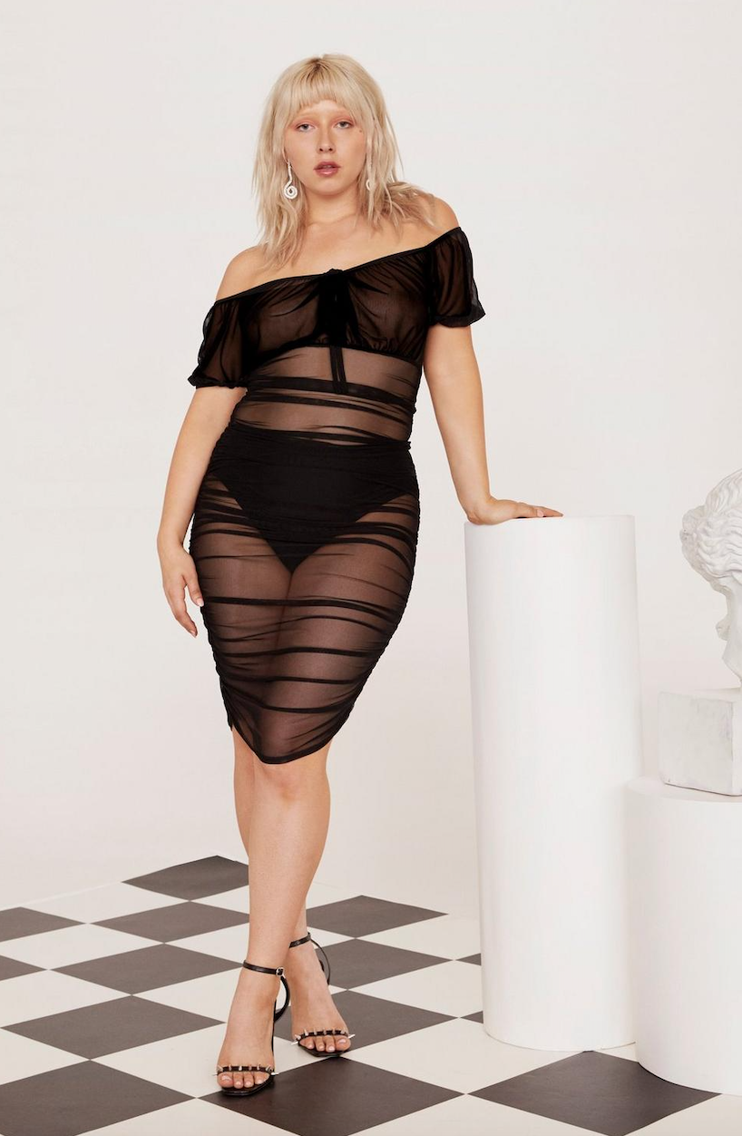 Gather Your Things Plus Mesh Dress - Was $56Now $28