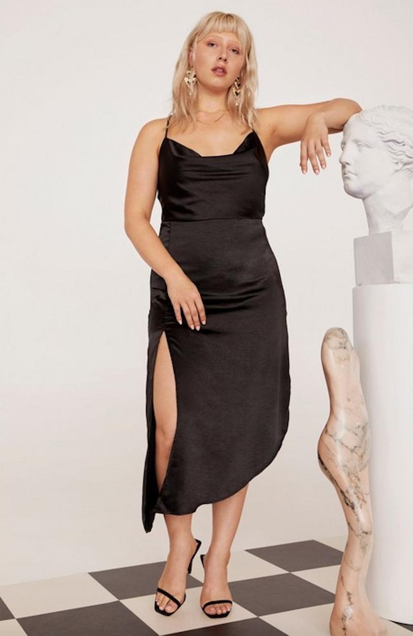 Cowl to Be a Heartbreaker Satin Midi Plus Dress - Was $90Now $45
