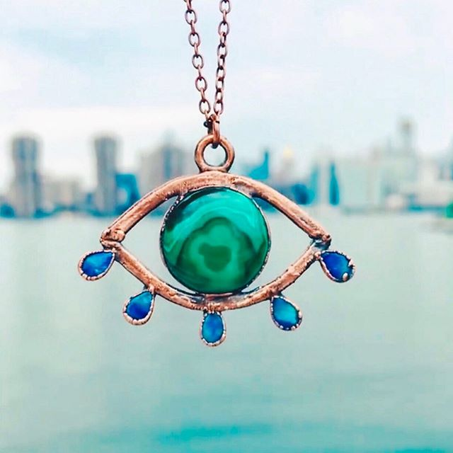 Mesmerizing 👁 Malachite Opal Eye 👁 Talisman by @myheartechoesyours. • • • • #clrflconversations #malachite #opal #crystals #crystaljewelry #jewlery #jewelrydesigner #womenbrand #womanowned #womenartists #womencreatives #womendesigners #womenentrepreneurs #womenempowerment #selflove #selfcare #healingjewelry #healingcrystals #heartchakra #chakrajewelry #chakra #talisman