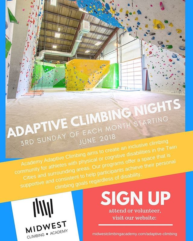 Announcing Adaptive Climbing Nights. This is in tandem with our Adaptive climbing team that runs twice per year in partnership with @couragekennysportsrec . Link in bio ya'll!