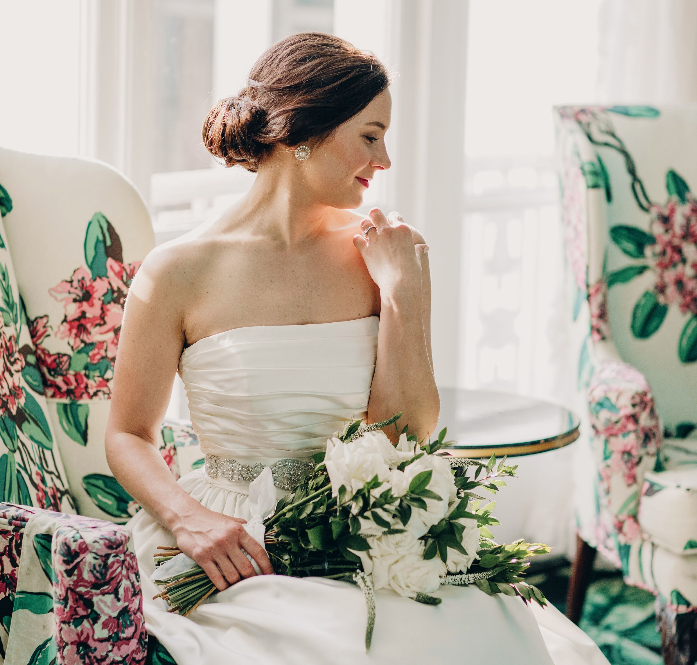 The Greenbrier was the perfect site for these breathtaking portraits of Bryn in her gown prior to her wedding day. Her best friend, and bridesmaid, captured the light and beauty of this happy bride amongst the vibrant colors and brilliant patterns present throughout the resort.