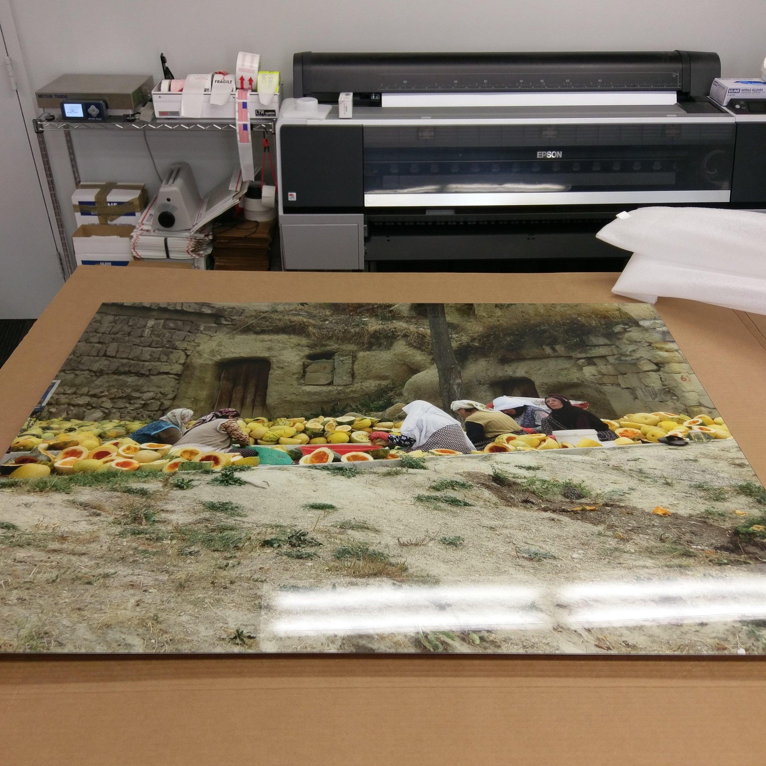 "A 37.5"" x 50"" print, acrylic block mounted."