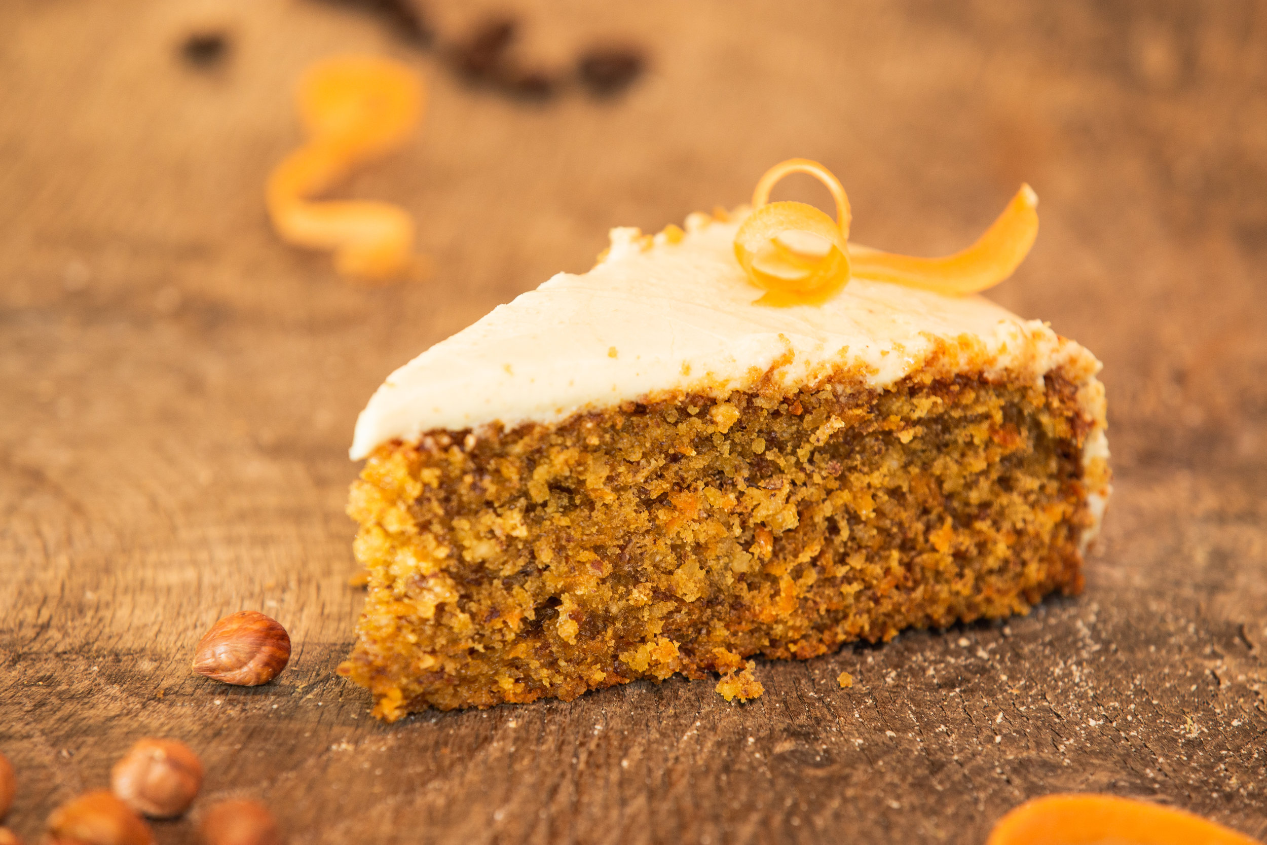 Our cakes are becoming as famous as our scones and pasties. The one pictured here is carrot and hazelnut but we have a variety of others such as chocolate and raspberry (which is also vegan) and the delicious lemon and poppy seed.