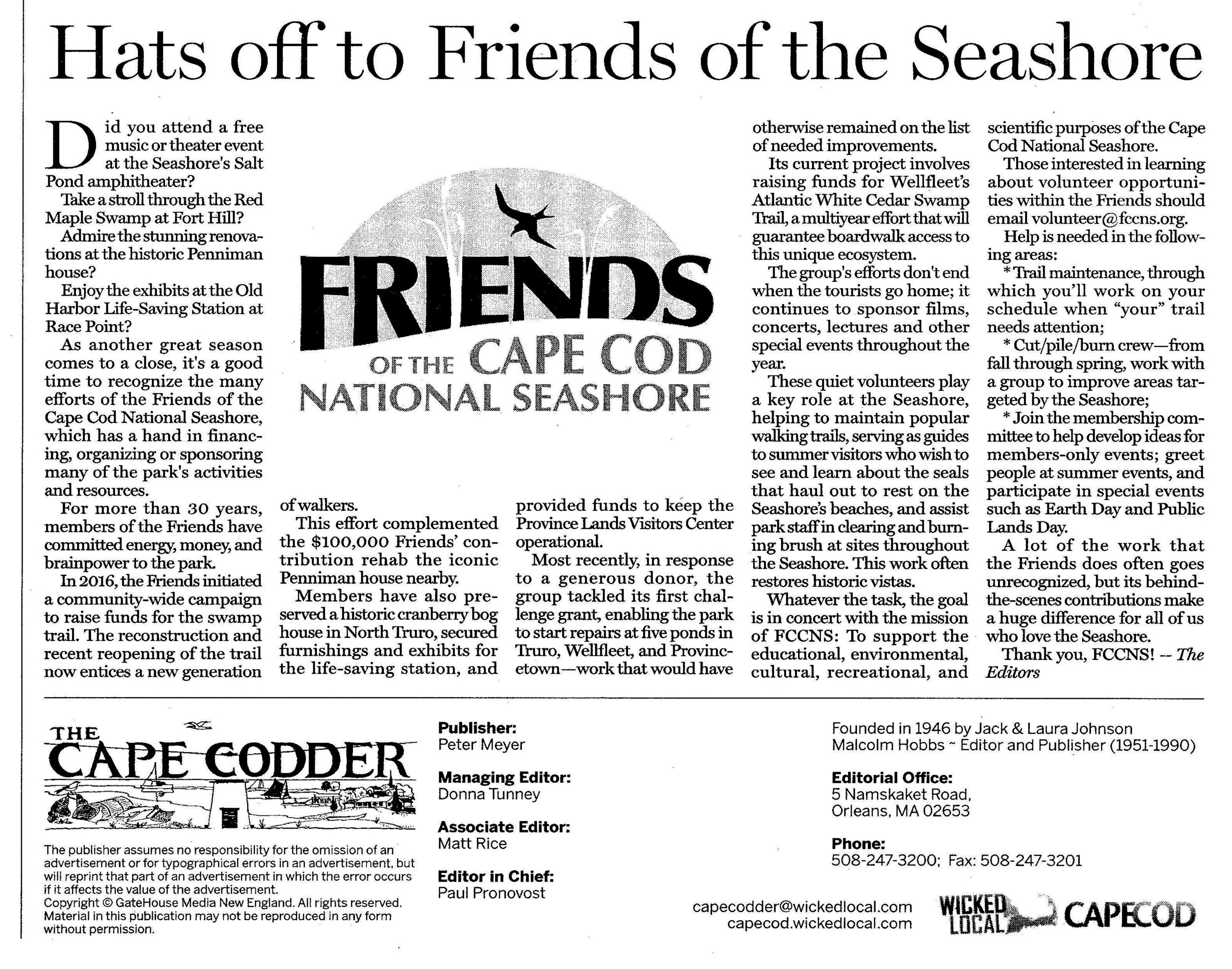 Hats off to Friends from the Cape Codder - Click HERE to read the recent editorial from the August 30, 2019 issue of the Cape Codder.