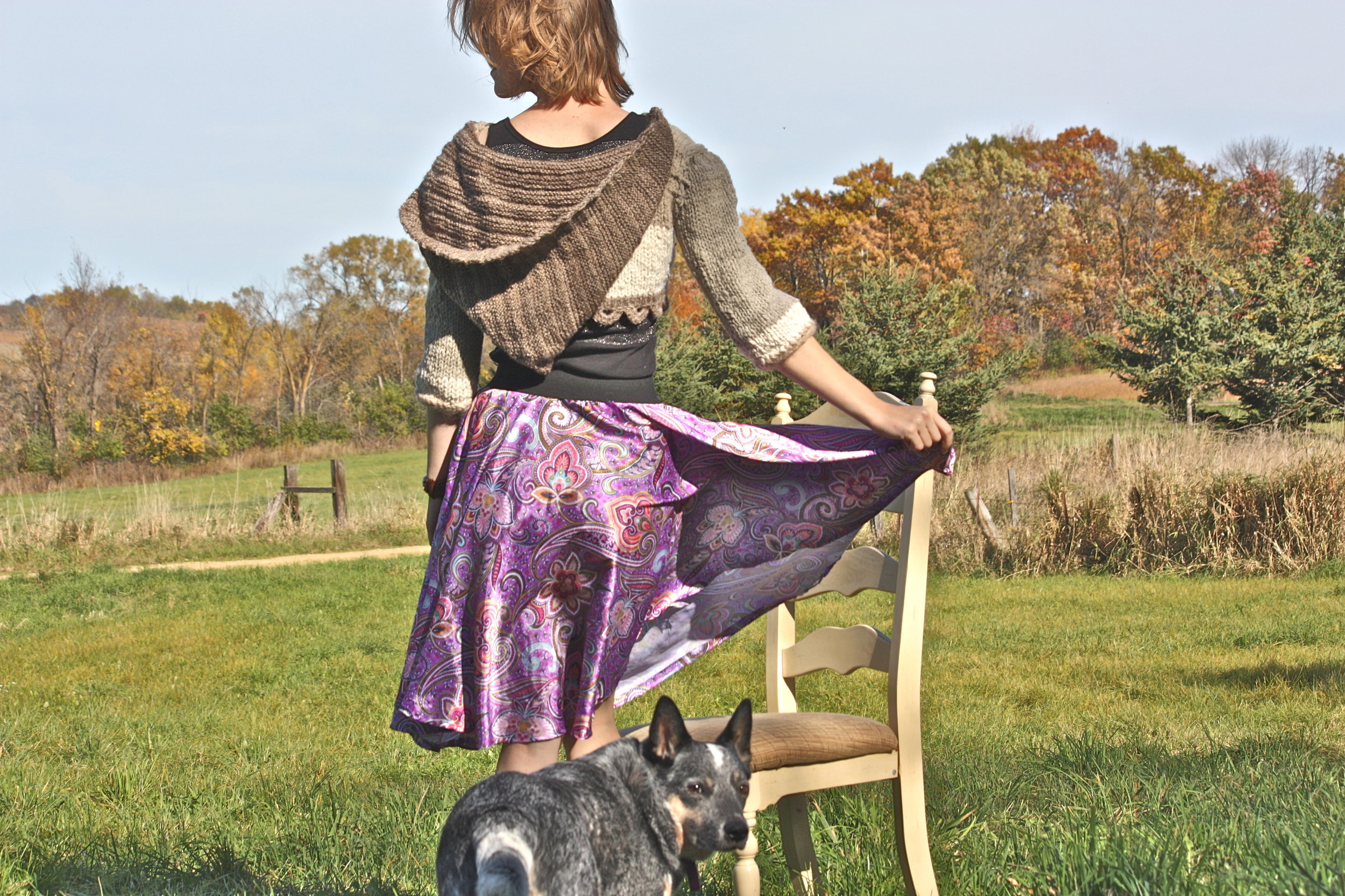 Wearing: Circle skirt (drafted with help from  Made Everday with Dana ) Cropped sweater, designed by me knit with handspun yarn, natural dyes