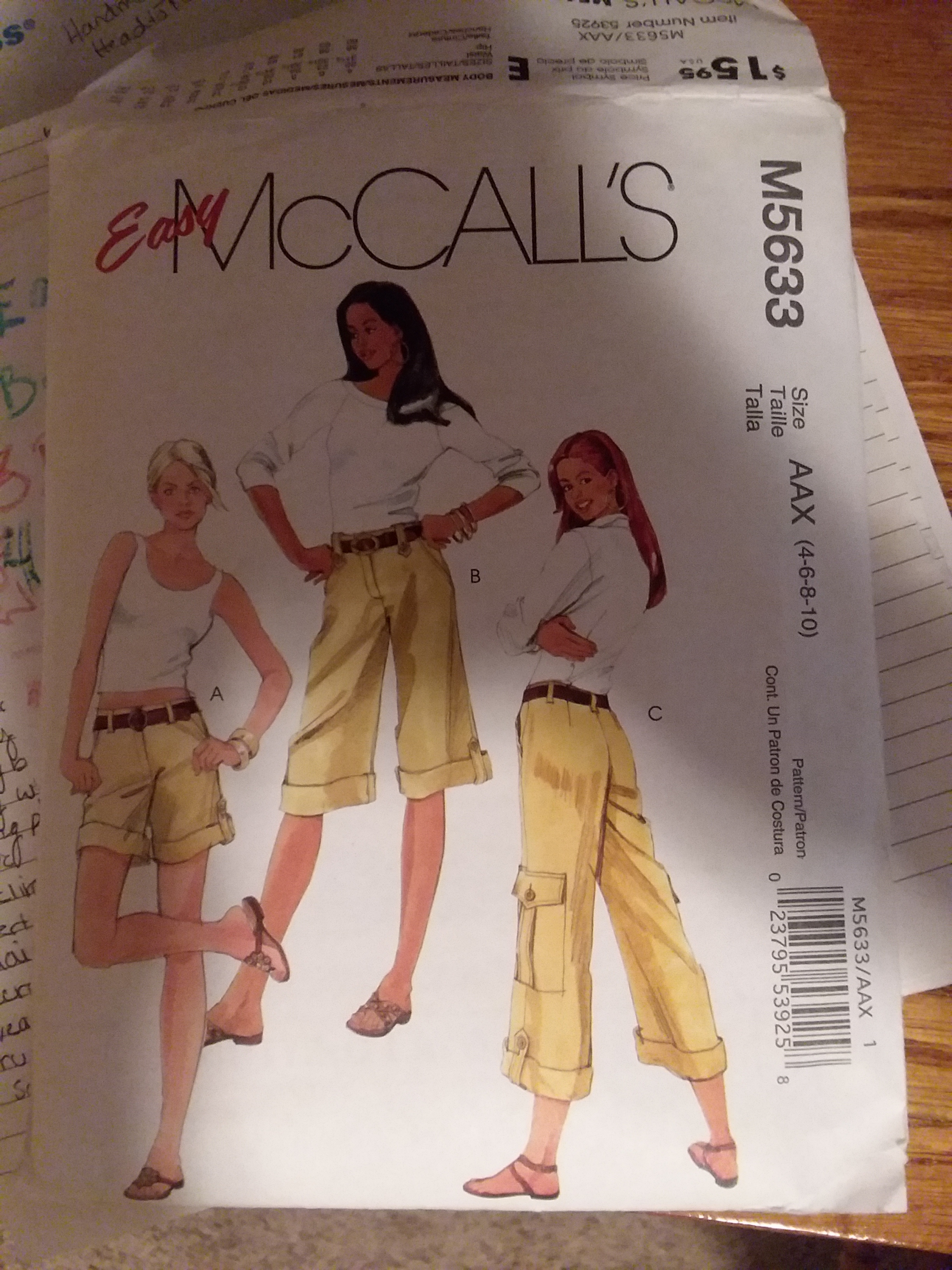McCalls Pattern, I made View B as shorts. The pattern was purchased as part of a grab bag of patterns from a thrift store.