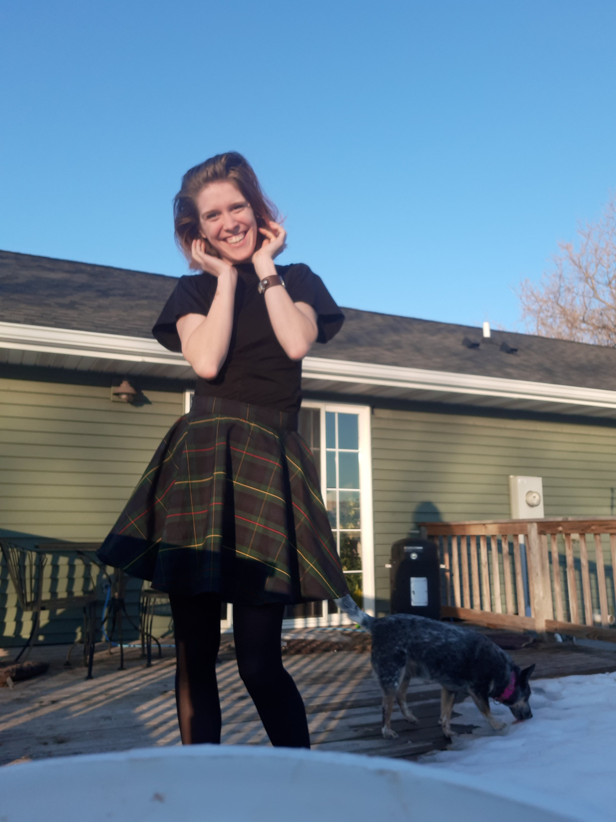 Photo features a shirt that I made from an old pair of pants I pulled out of my mom's thrift store giveaway pile.