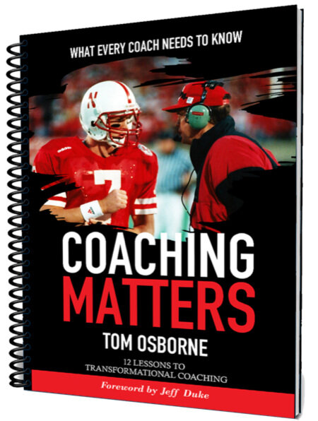 Coaching matters - IN THIS STUDY GUIDE, former Husker Coach Tom Osborne, shares proven principles, strategies and lessons to equip you to improve your coaching and inspire others.Nearly every successful coach can point to a good coach who taught them how to coach. Tom Osborne makes the case for coaching athletes in body, mind and spirit— all three dimensions. He explains how every coach can get others to follow, giving their best effort without using intimidation tactics or manipulation. Study how any coach can leave a legacy.Topics include: mentoring, integrity, consistency, language, values, how to deal with adversity, work ethic, spirituality, loyalty, unity, vision and leadership.Tom Osborne was the head coach of the University of Nebraska Cornhuskers football team for 25 years. He has been inducted into the College Football Hall of Fame and the Fellowship of Christian Athletes Hall of Champions.