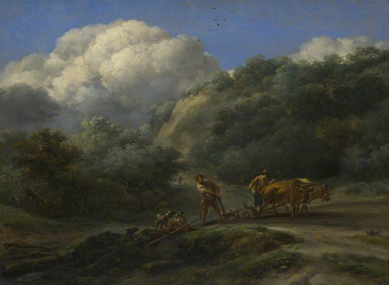 A Man and a Youth Ploughing with Oxen by  Nicolaes Pietersz Berchem . Part of the National Gallery, London collection.