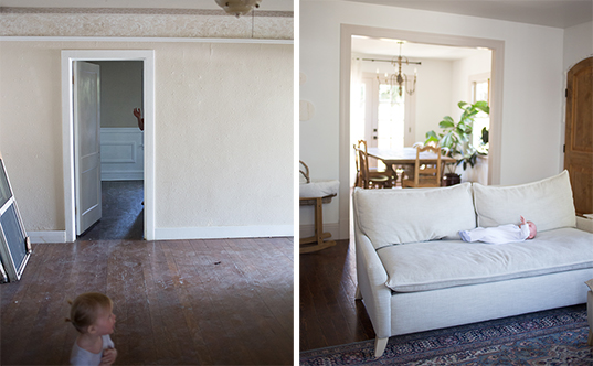 before & after looking into the dining room that used to be a bedroom