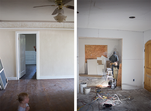 The picture on the right is looking into the dining room from the living room. We added a new front door to mirror the rounded opening on the front of the house and the cut out you see in the dining room will be french doors leading out to the yard. The rest of the house is being sheet rocked this minute and will be ready for paint next week!
