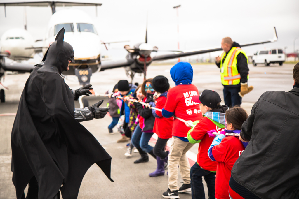 Batman keeping the kids honest at the Kids Plane Pull