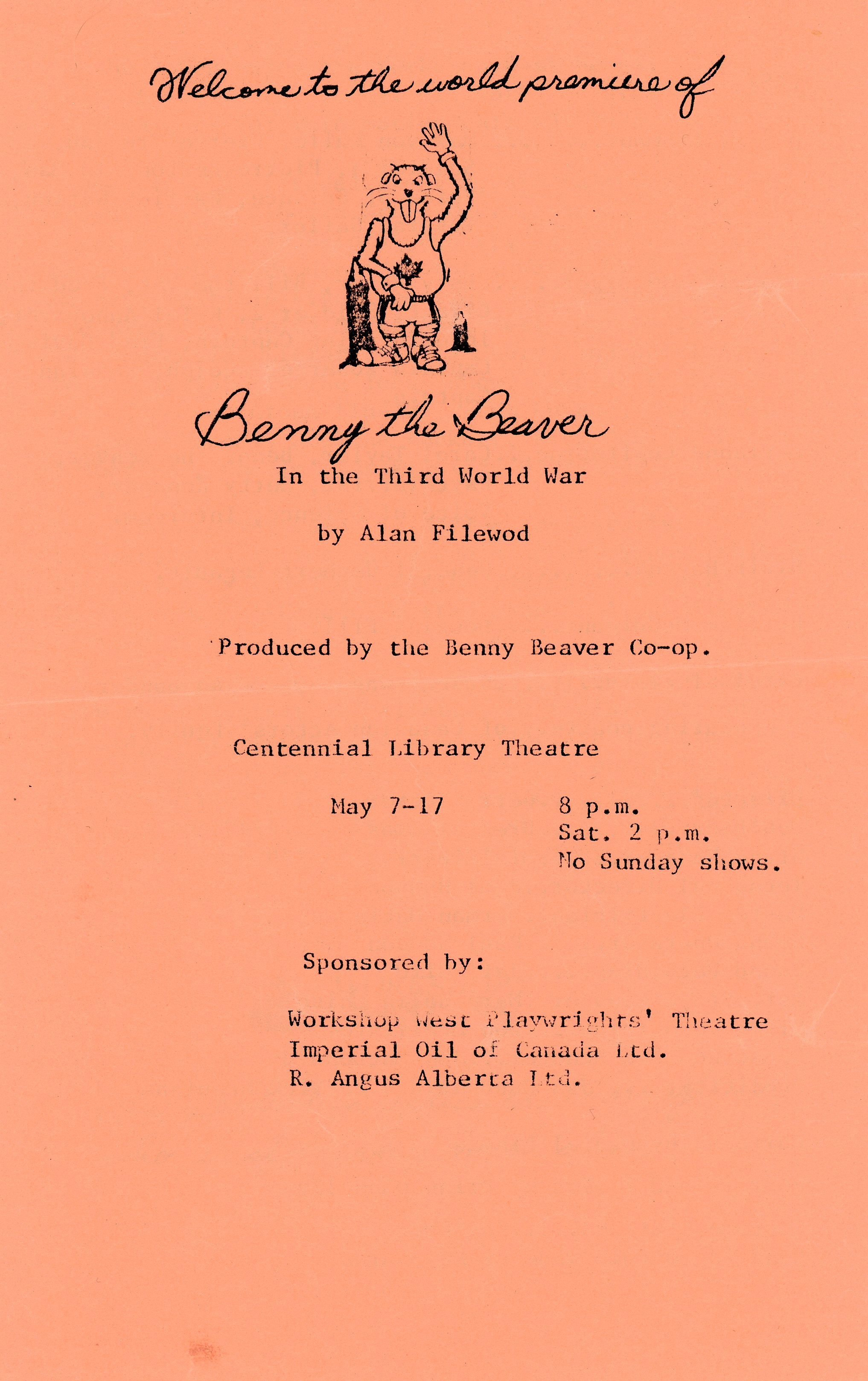 Benny the Beaver in the Third World War (May, 1980) - Program Cover.jpg