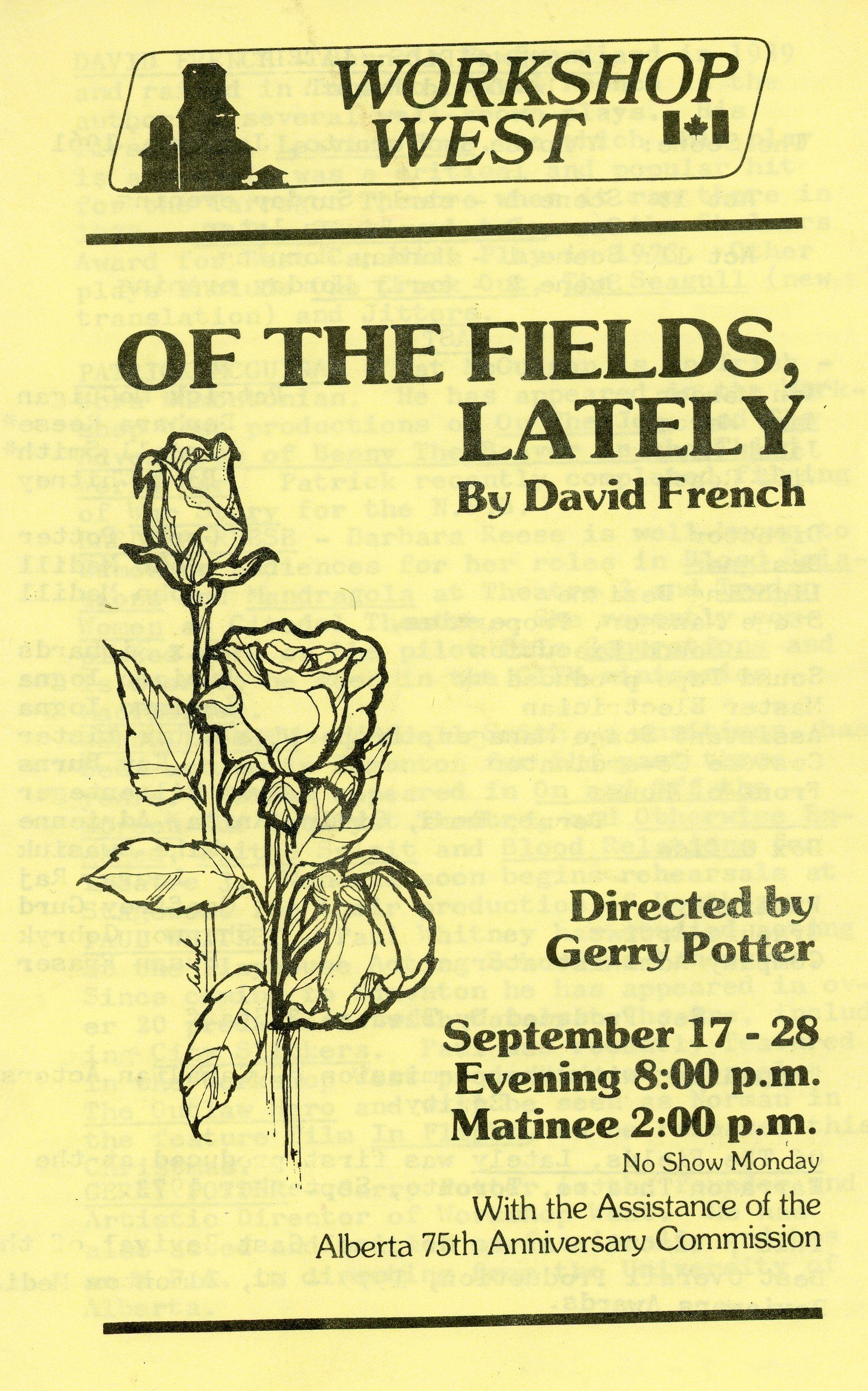 Of the Fields, Lately (September, 1980) - Program Cover.jpg