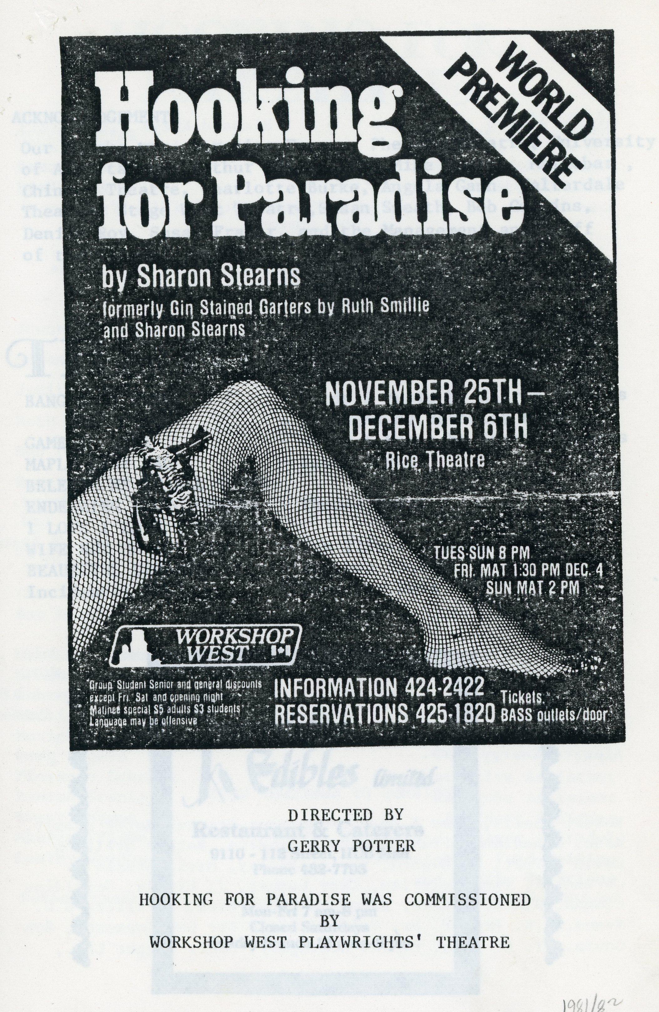Hooking for Paradise (November, 1981) - Program Cover.jpg