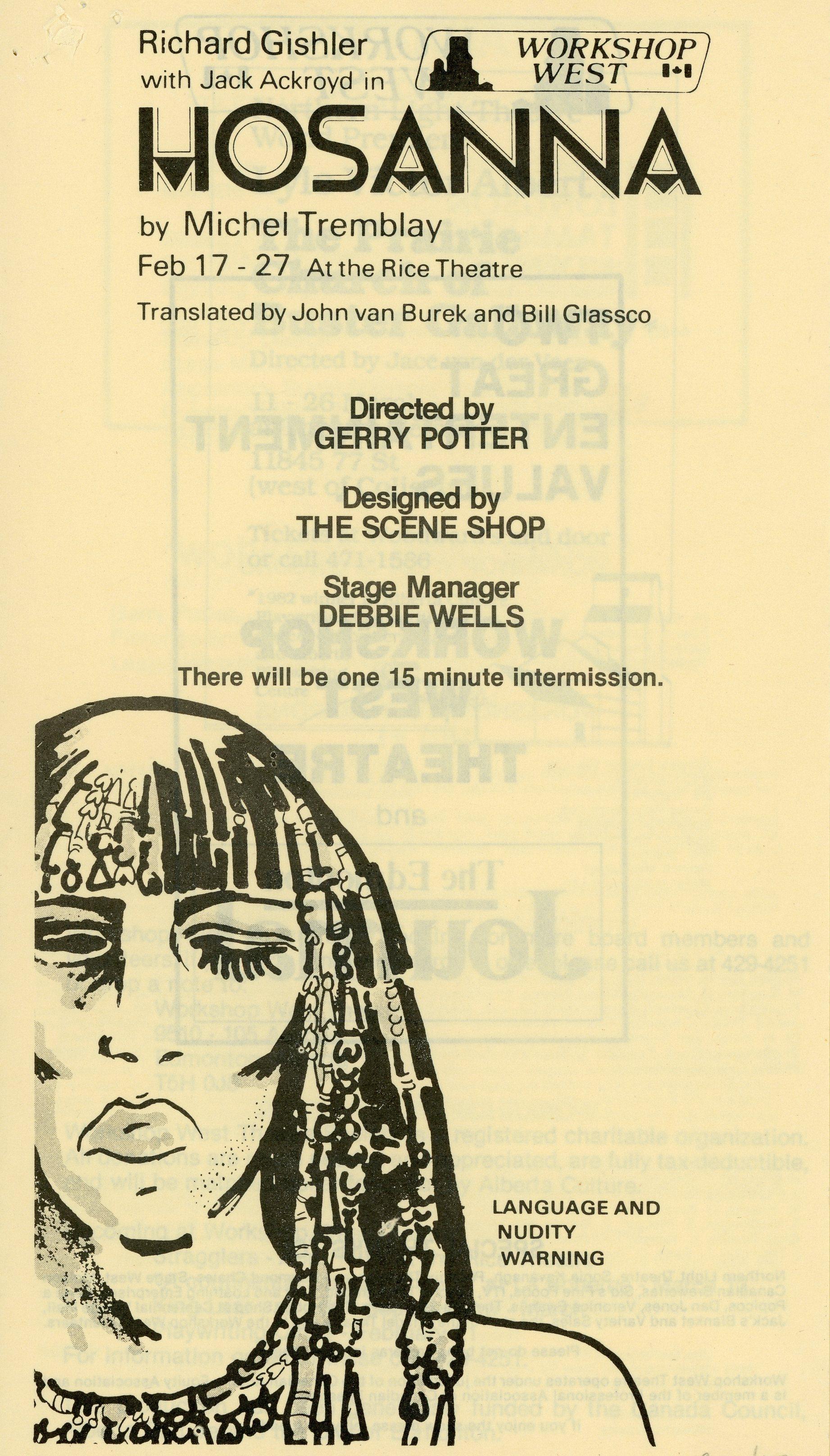 Hosanna (February, 1983) - Program Cover.jpg