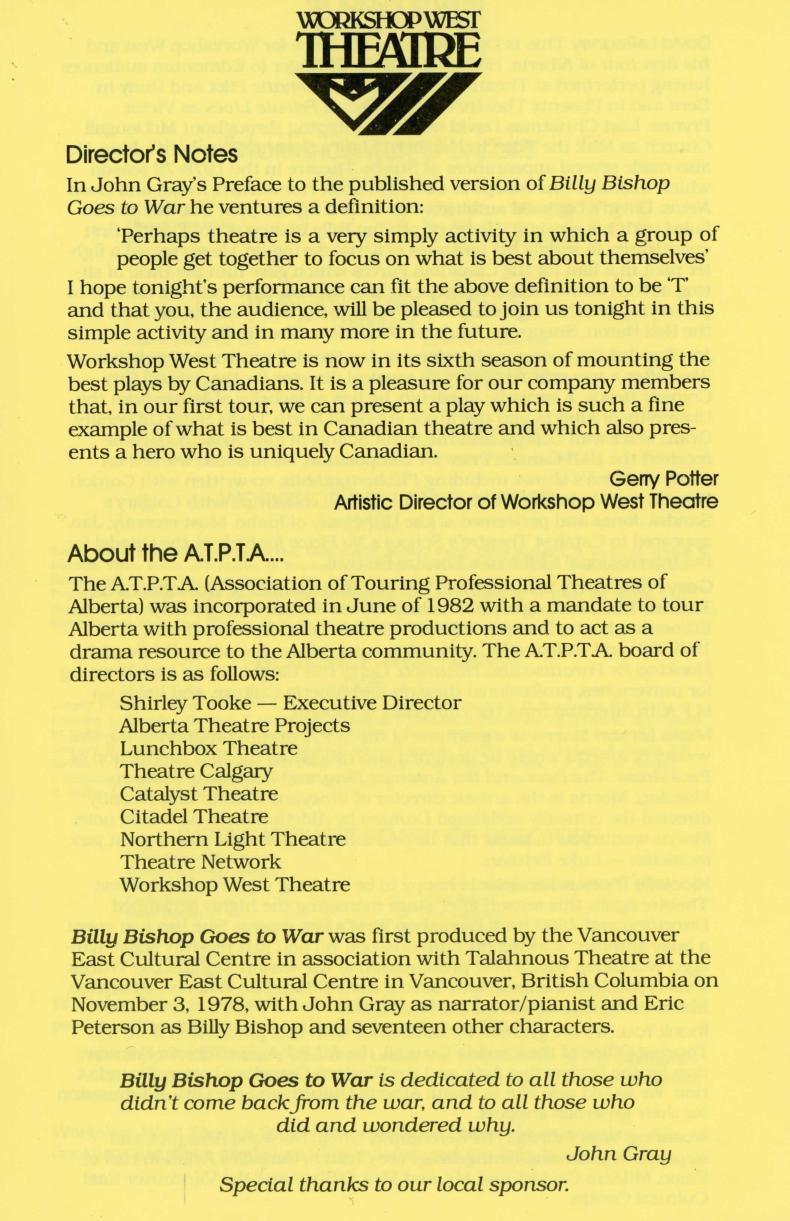 Billy Bishop Goes to War (1) (November, 1983) - Program Information-page-002.jpg