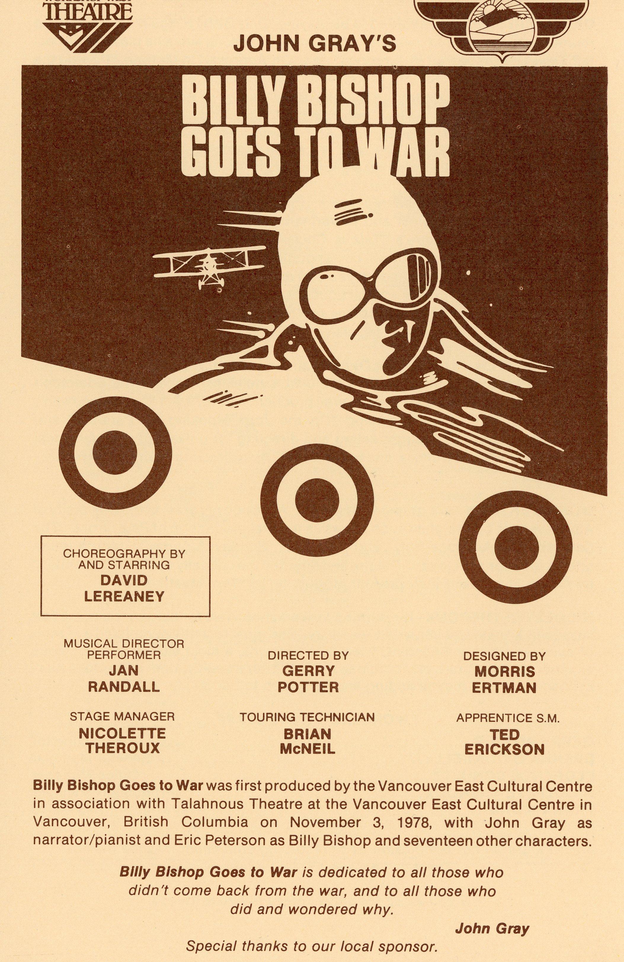 Billy Bishop Goes To War (October, 1984) - Program Cover.jpg