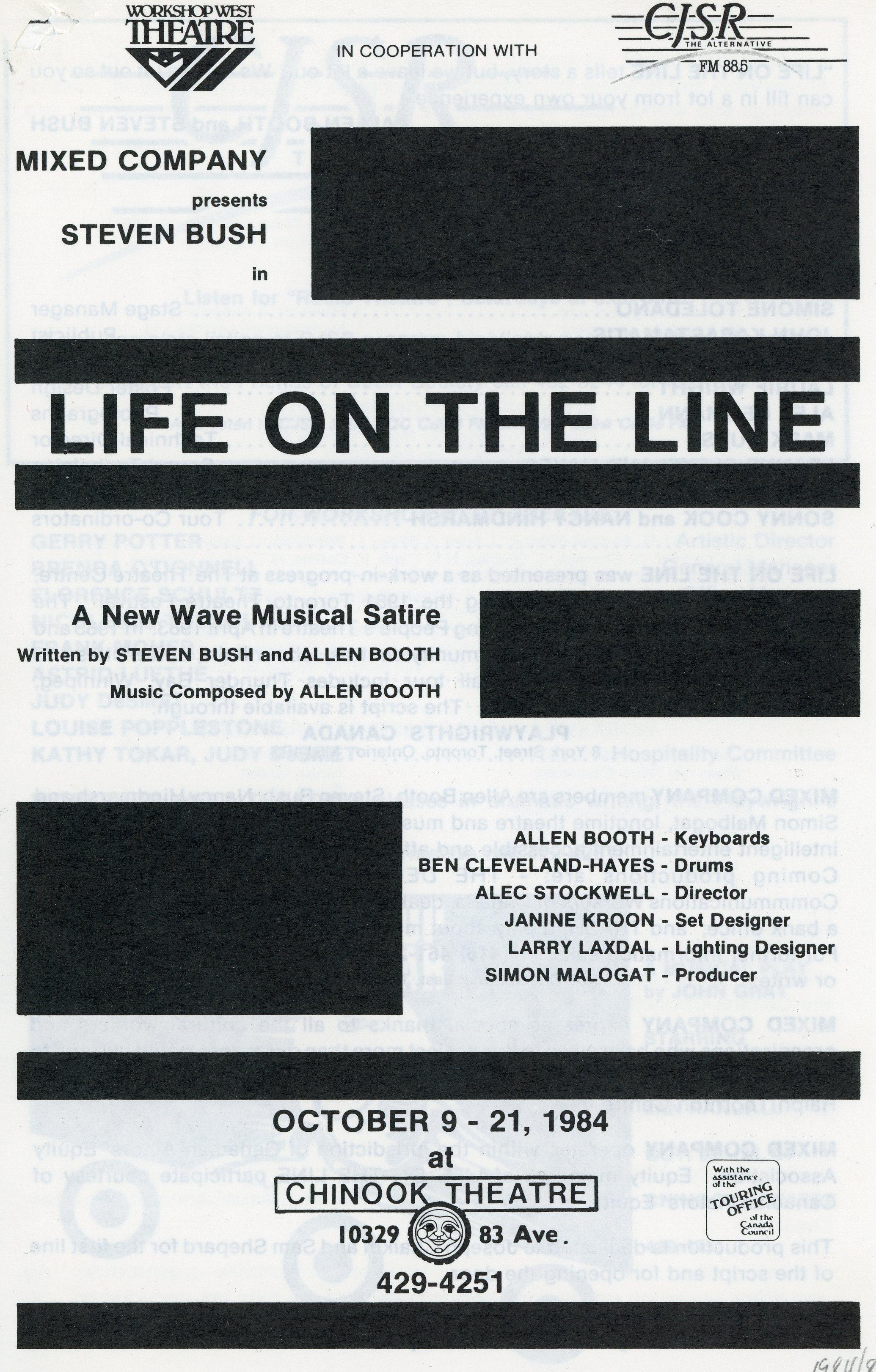 Life on the Line (1984 - 1985) - Program Cover.jpg