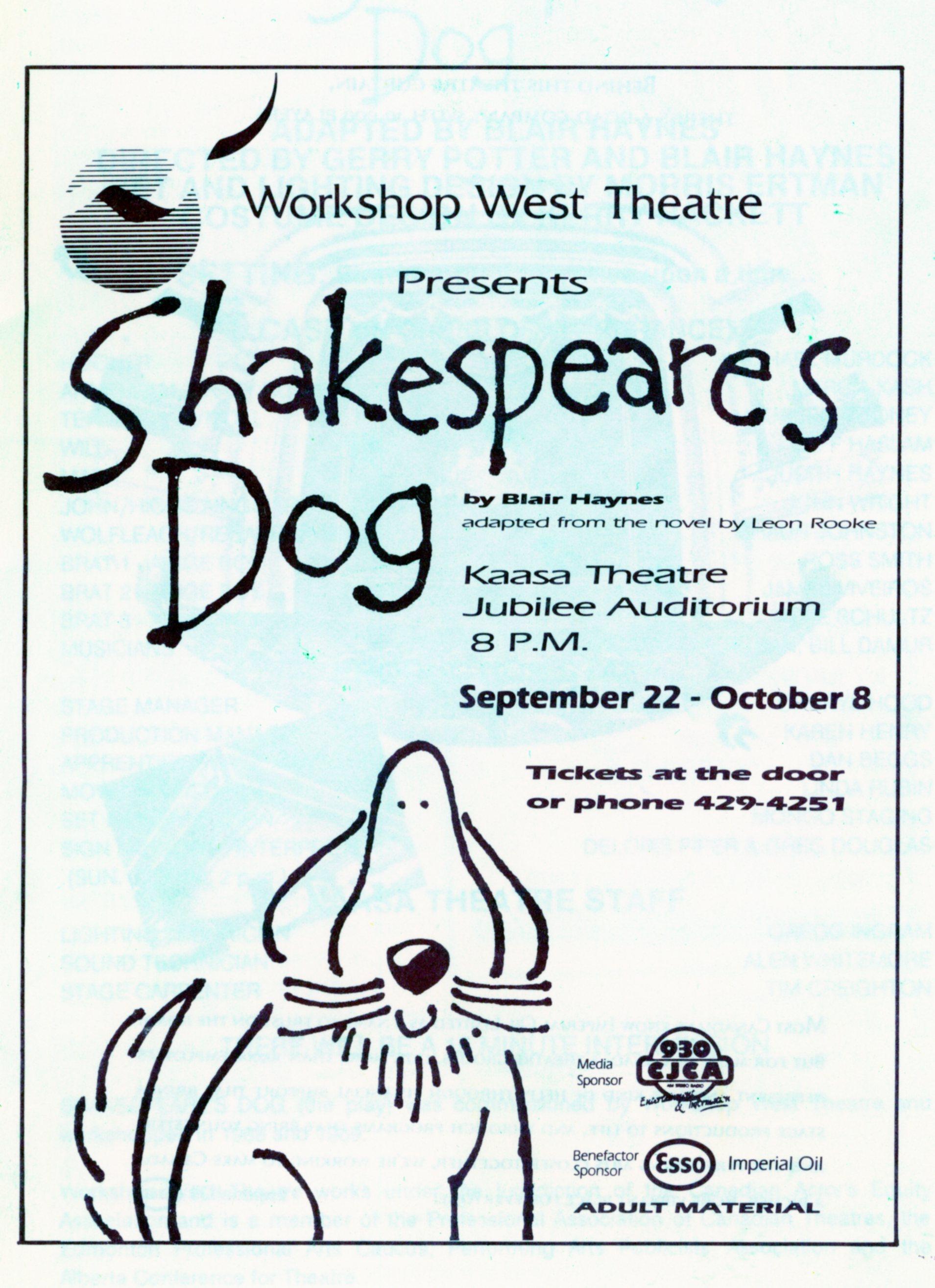 Shakespeare's Dog (September, 1989)-Program Cover JPEG.jpg