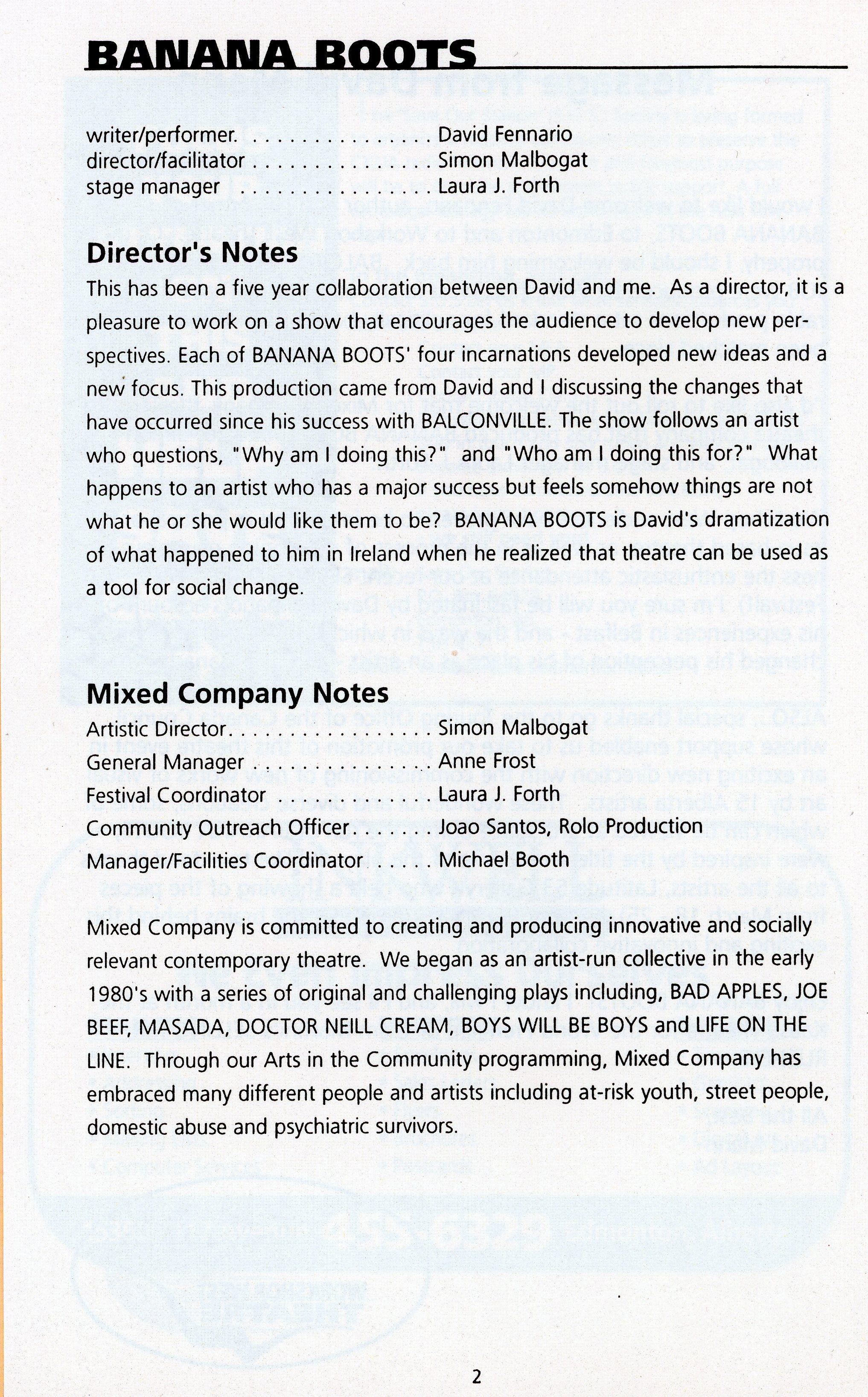 Banana Boots (March, 1997)- Production Information_JPEG.jpg