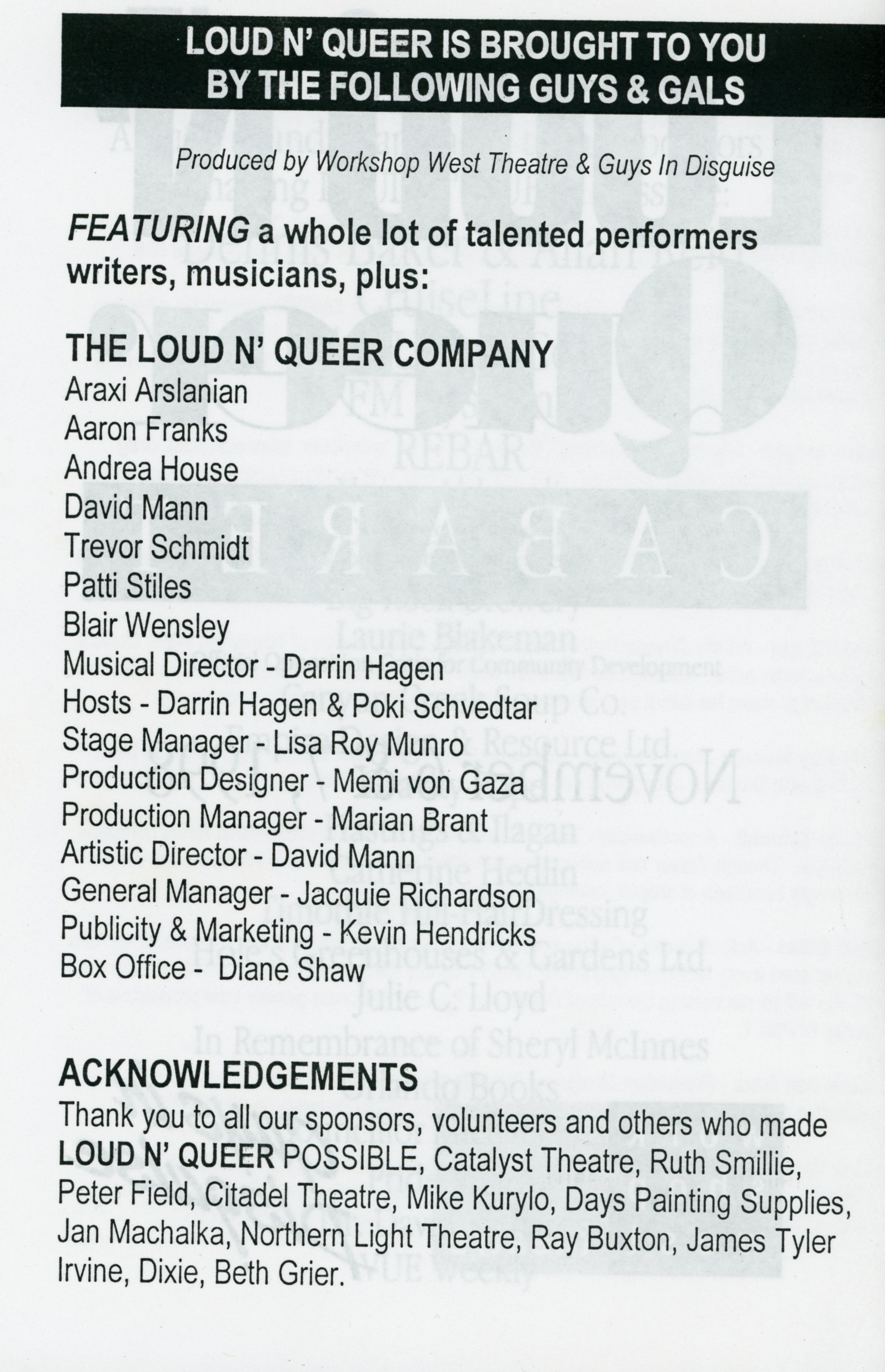 Loud and Queer (November, 1998)-Production Information_JPEG.jpg