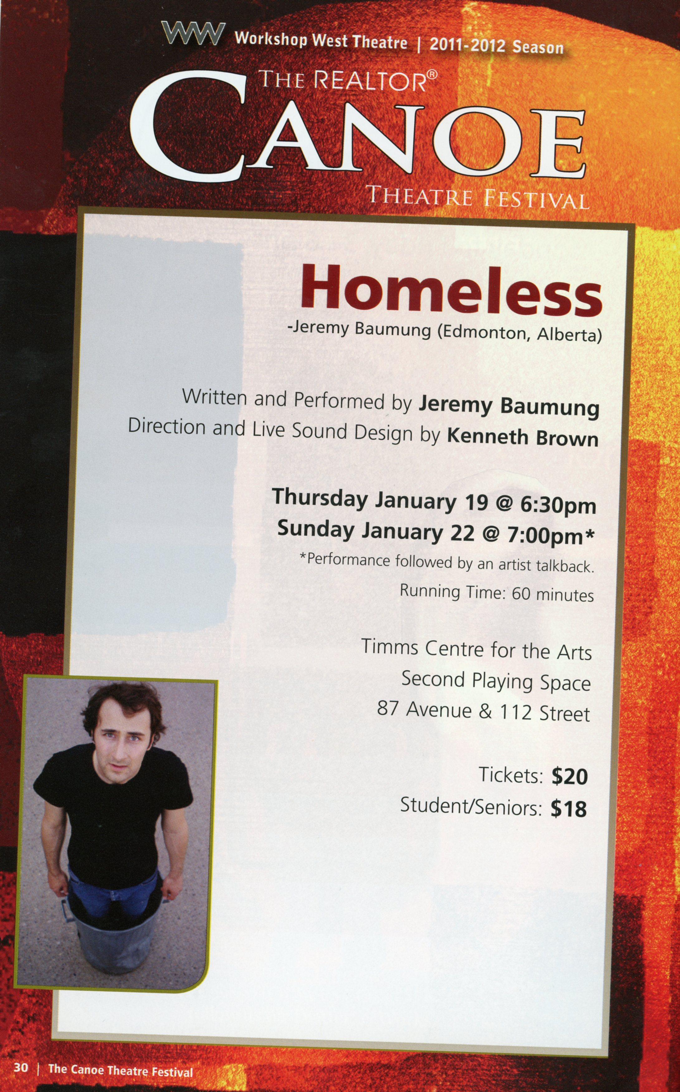 Canoe Theatre Festival (January, 2012)- Production  Information-Homeless_JPEG.jpg