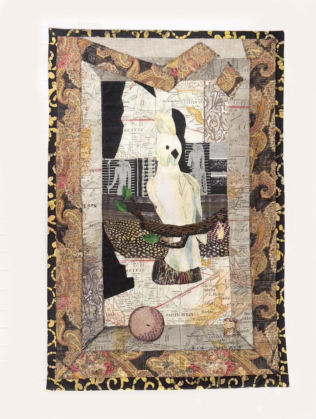 """Fractured Cornell , 2018.   31x20.5"""" Handmade Quilt   © Clara Wainwright"""