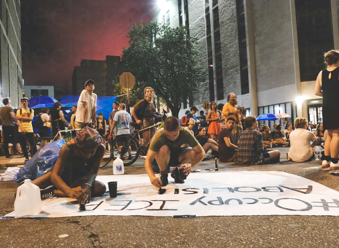 The scene at the Occupy ICE protest. (Photo by Jason Lozada)