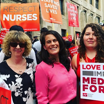 State Rep. Elizabeth Fielder, Susan Reardon of BMWED, and Amanda McIllmurray at the 'Save Hahnemann Hospital' Rally