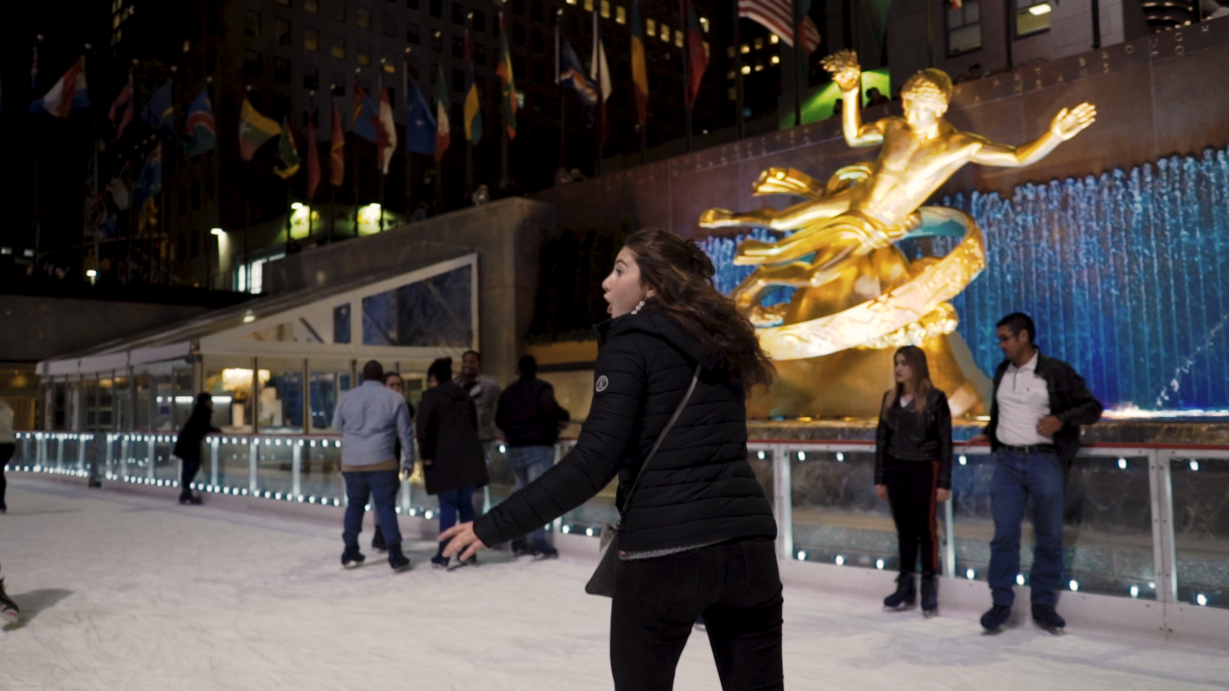 ROCKEFELLER ICE SKATING - it was october so more like water skating